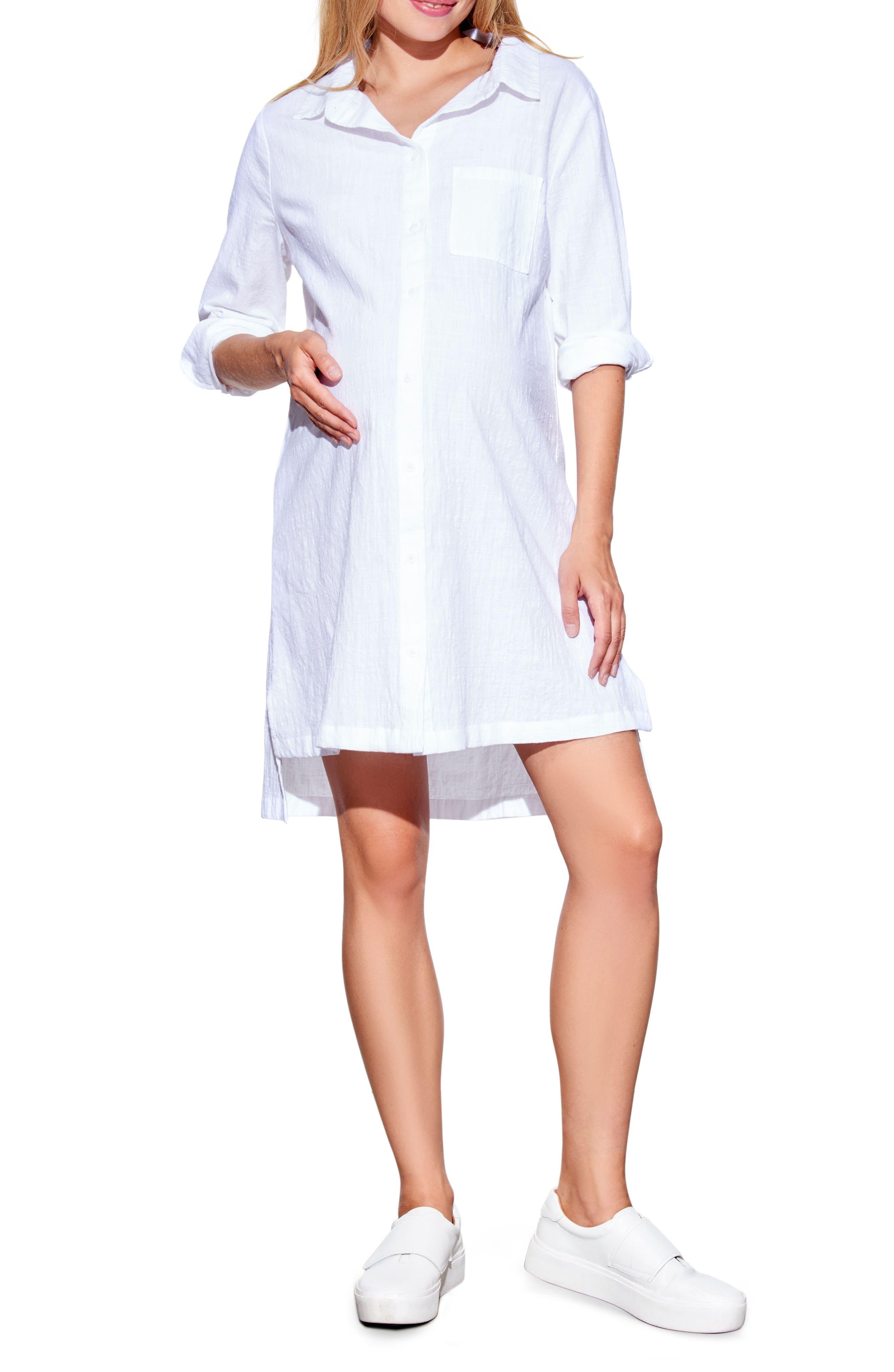 Main Image - Maternal America High/Low Maternity Shirtdress