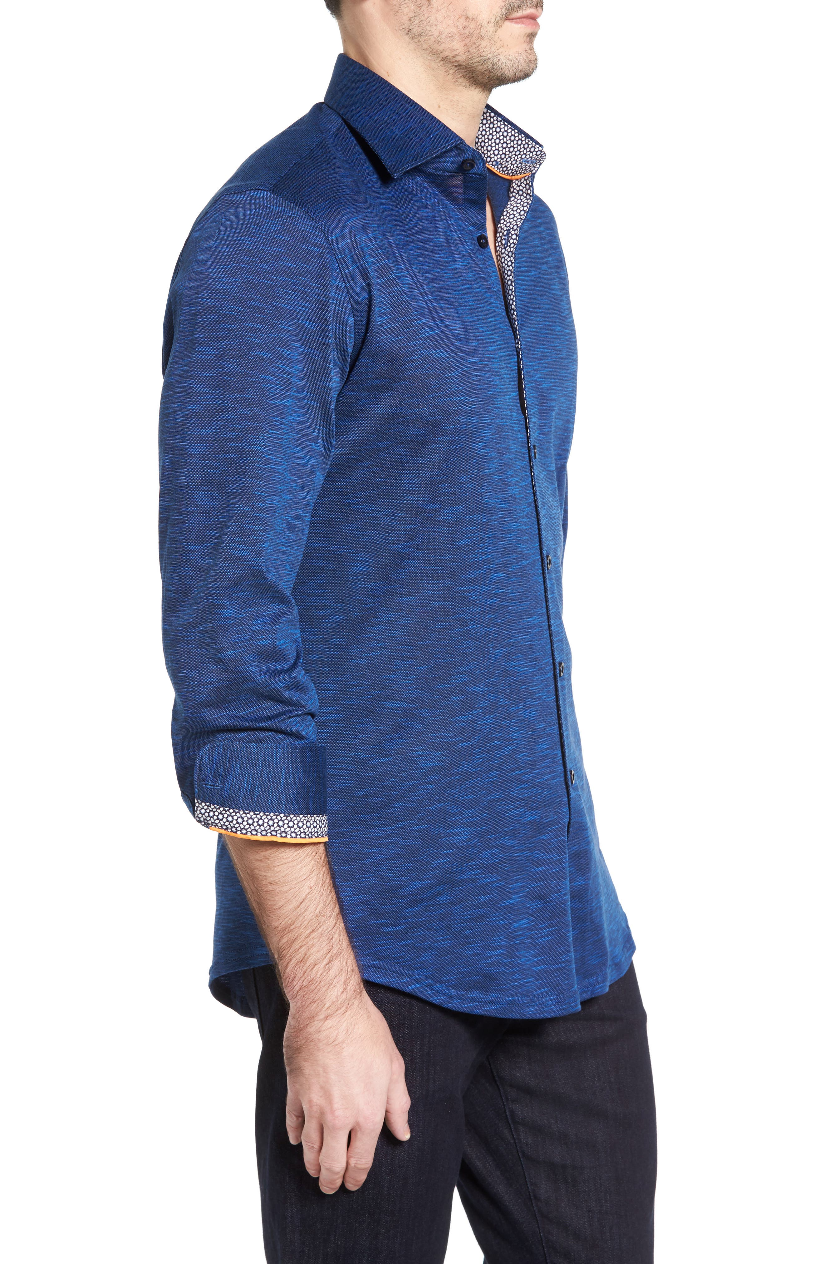 Flamé Knit Sport Shirt,                             Alternate thumbnail 3, color,                             Navy
