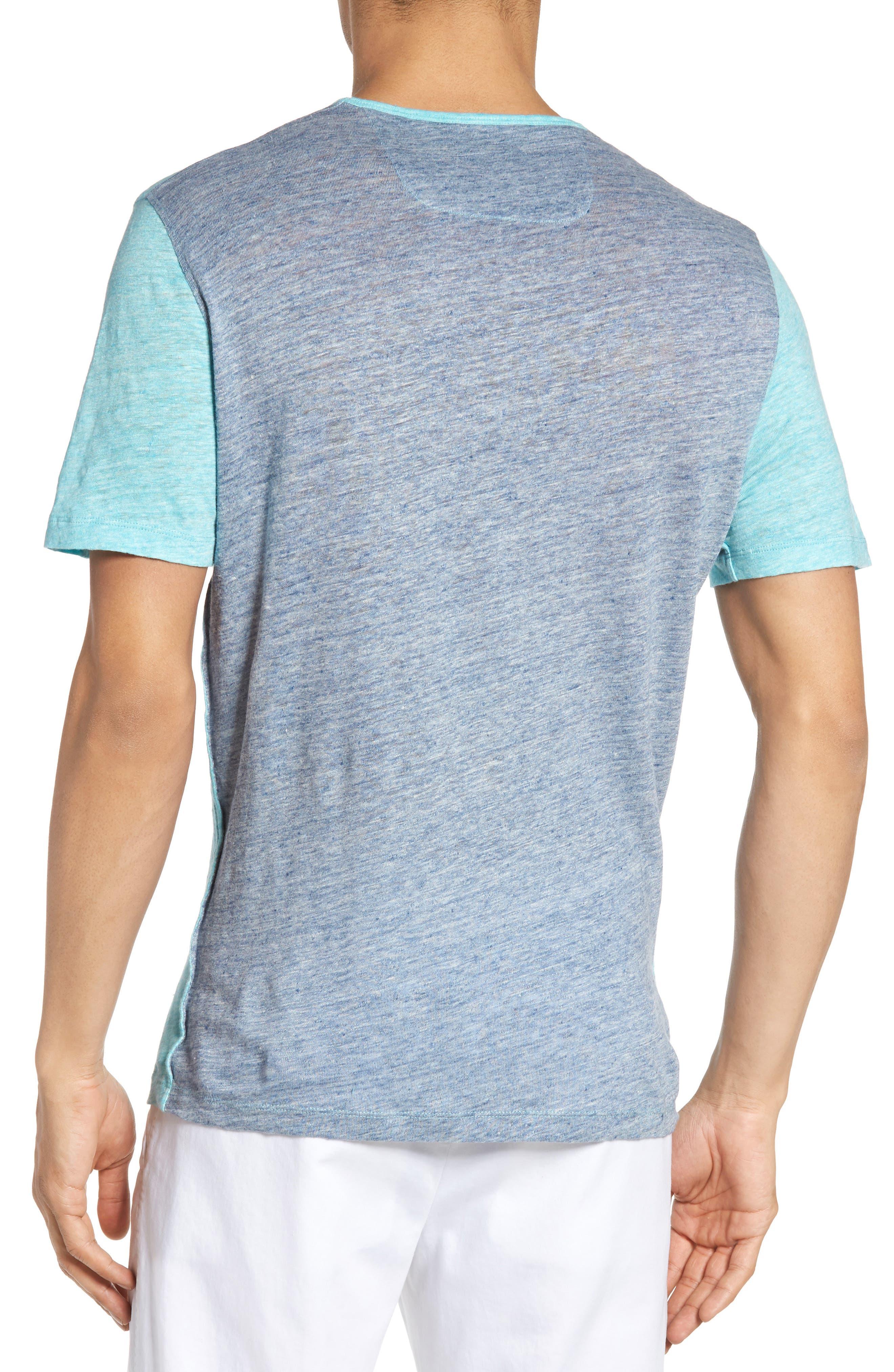 Monad Colorblock Linen T-Shirt,                             Alternate thumbnail 2, color,                             Aqua