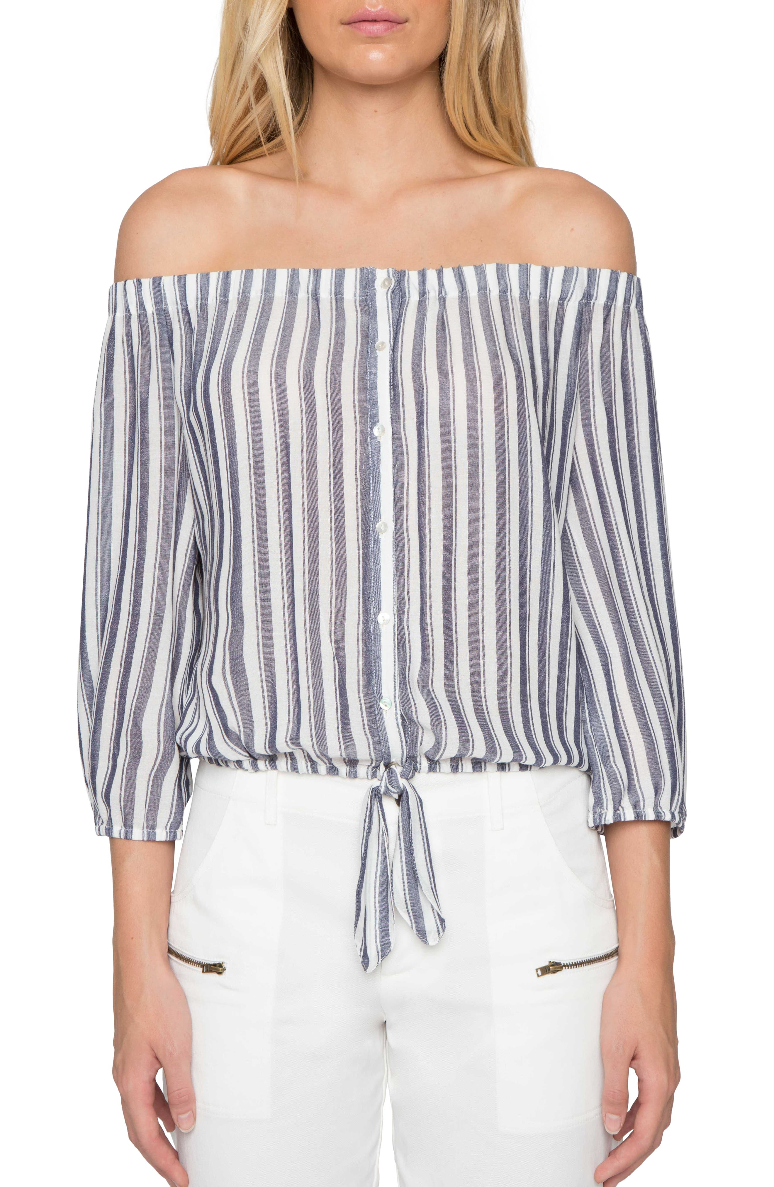 Willow & Clay Stripe Off the Shoulder Shirt