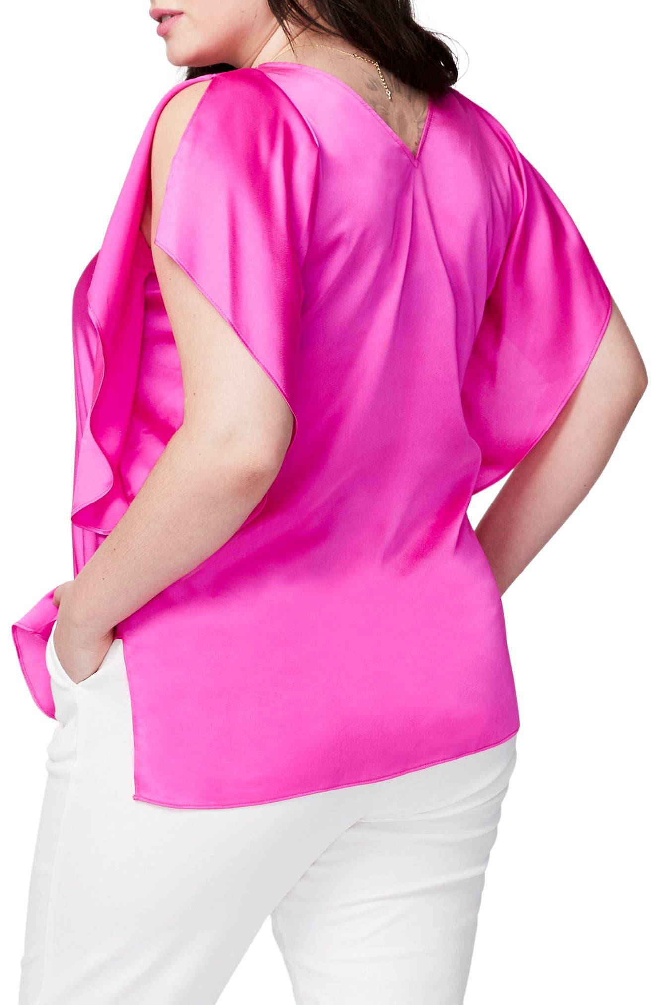 Alternate Image 2  - RACHEL Rachel Roy Flutter Sleeve Top (Plus Size)