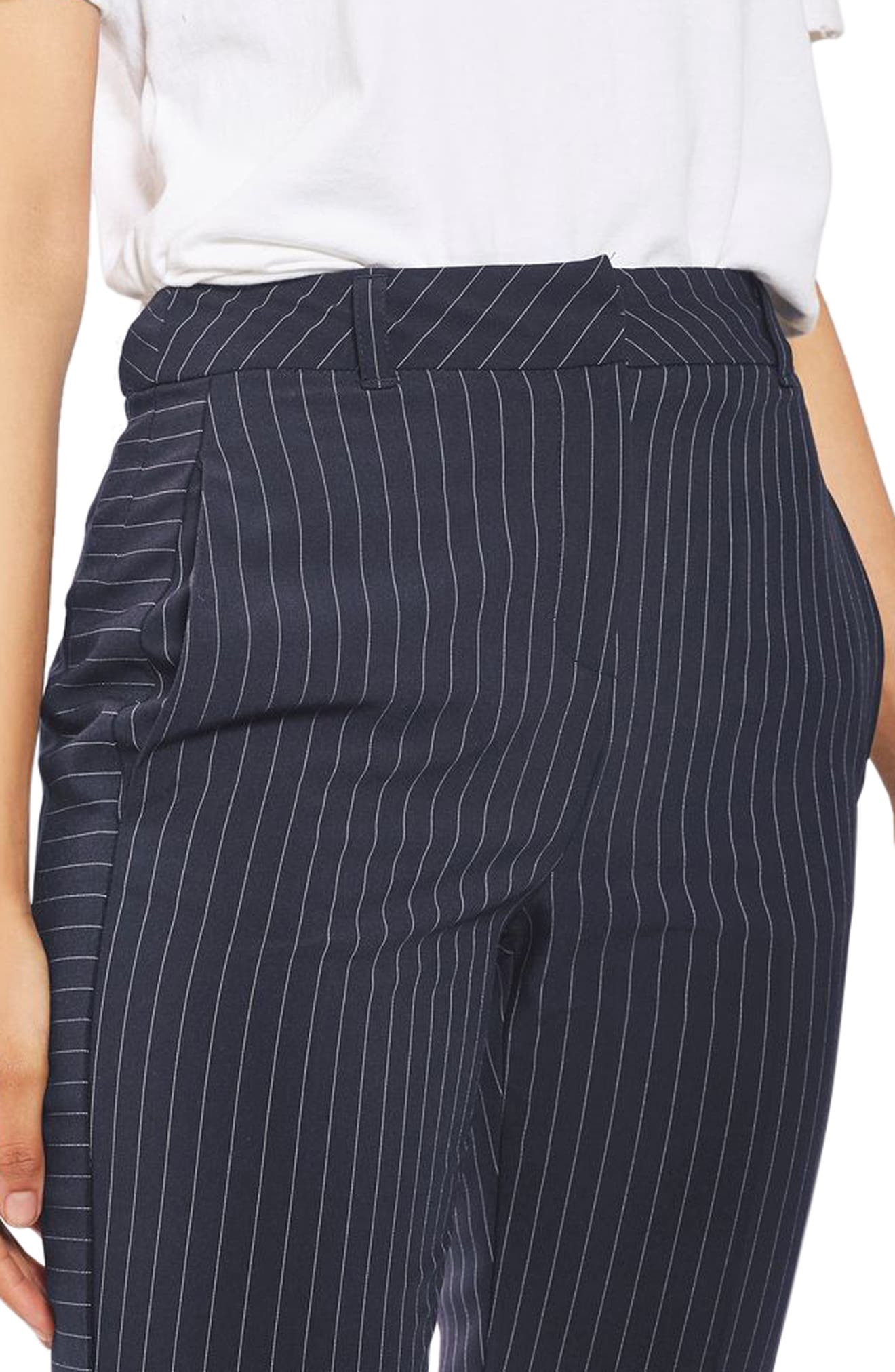 Cut About Pinstripe Cigarette Trousers,                             Alternate thumbnail 5, color,                             Navy Blue