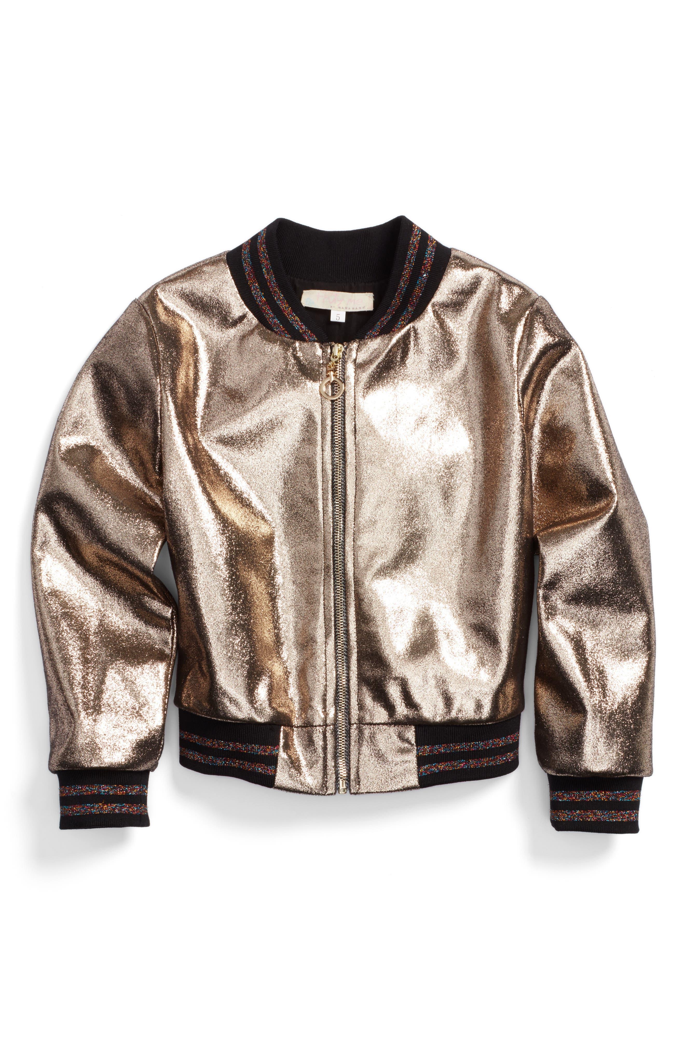 TRULY ME Metallic Bomber Jacket
