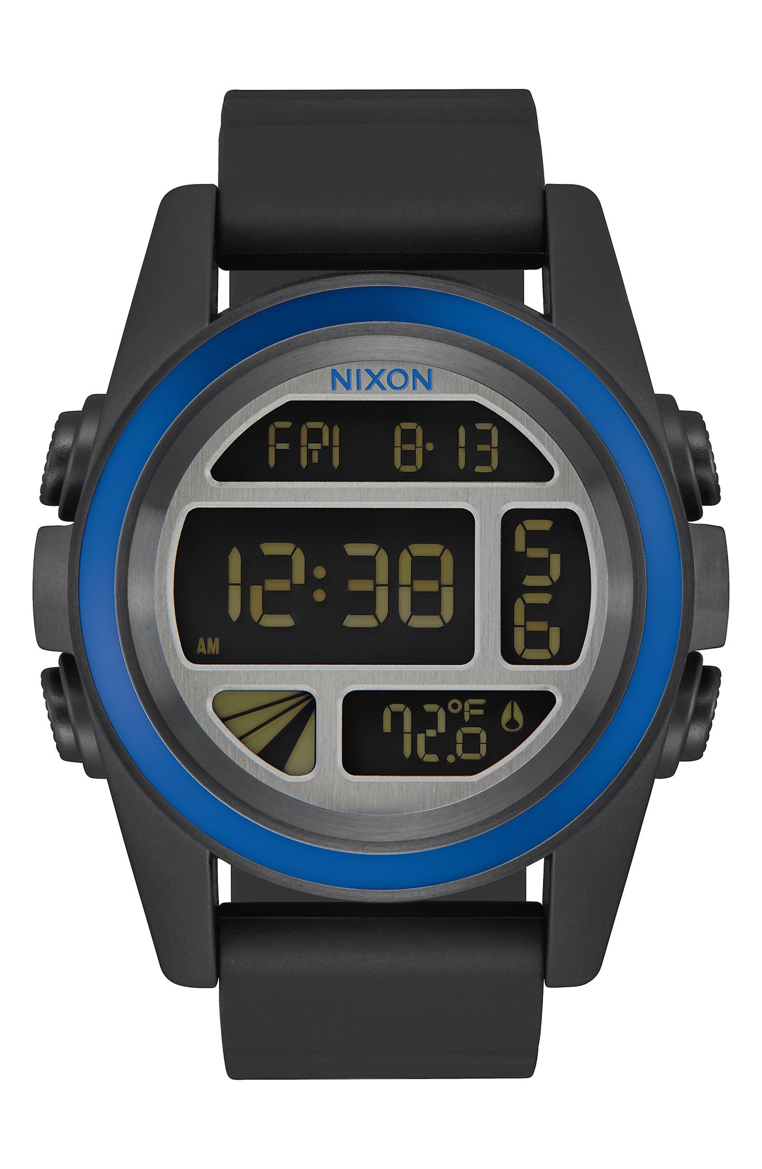 NIXON The Unit Digital Silicone Strap Watch, 44mm