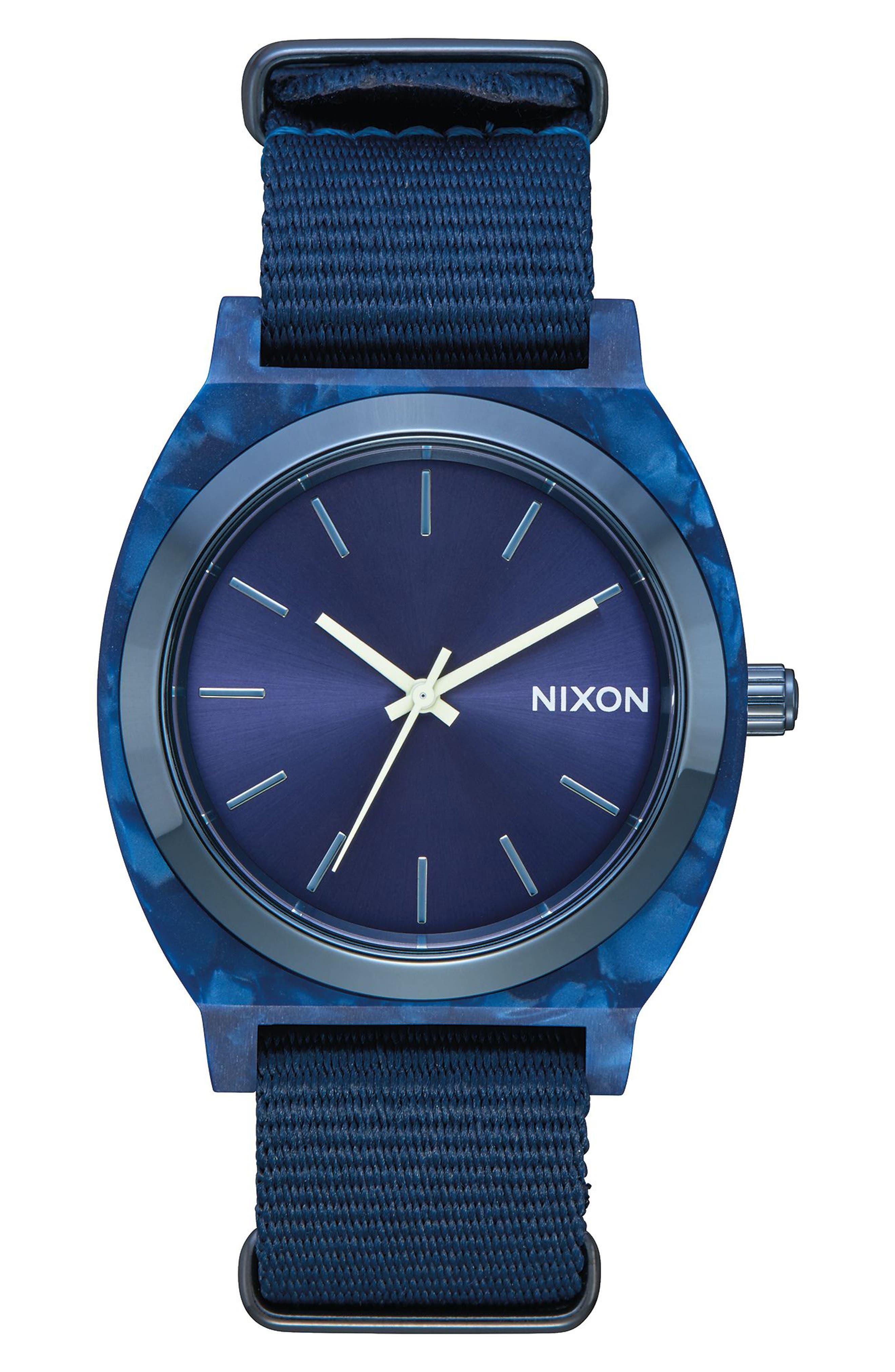 Time Teller Nylon Strap Watch, 40mm,                         Main,                         color, Blue