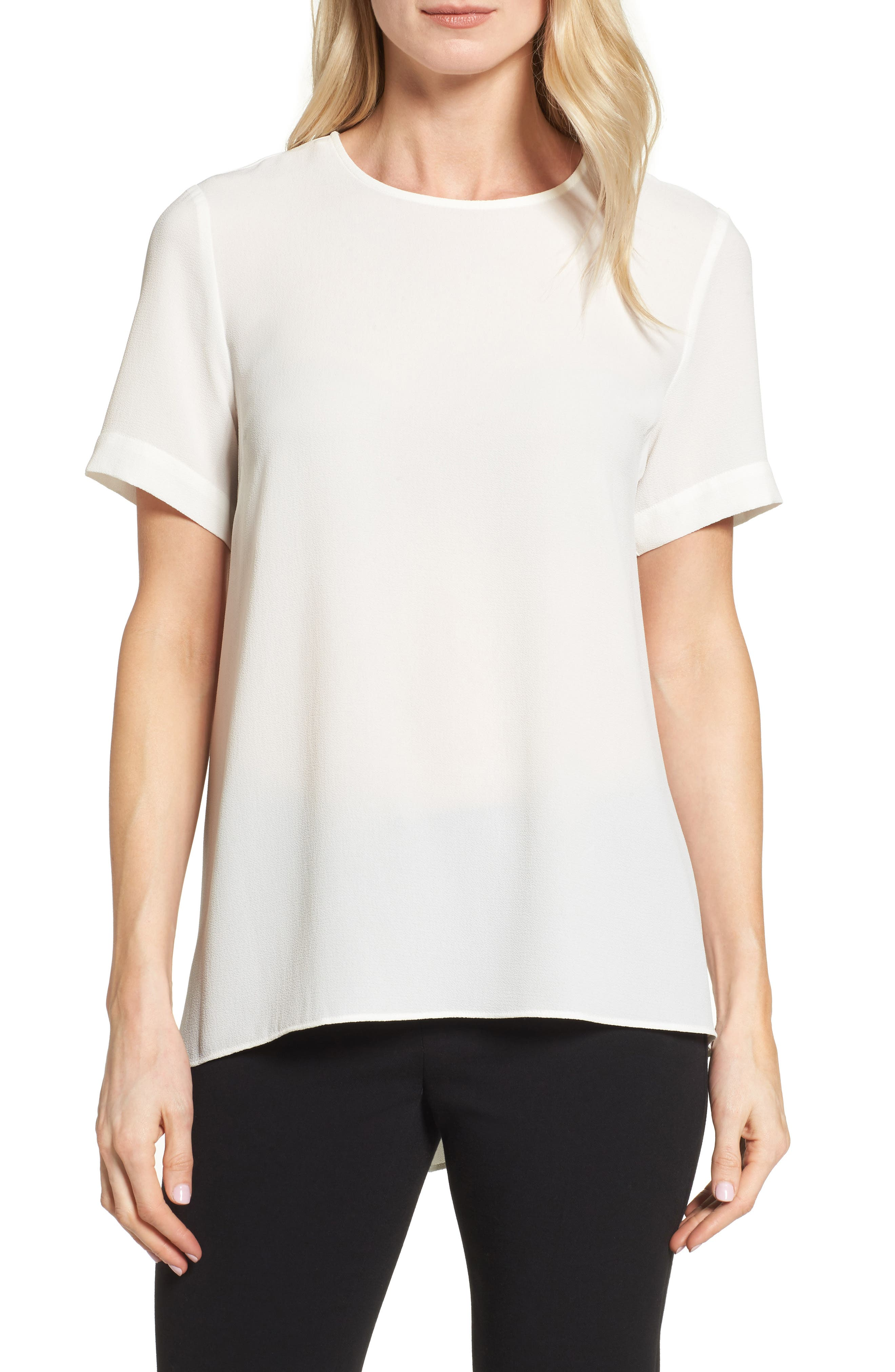 Vince Camuto Textured Georgette High/Low Blouse