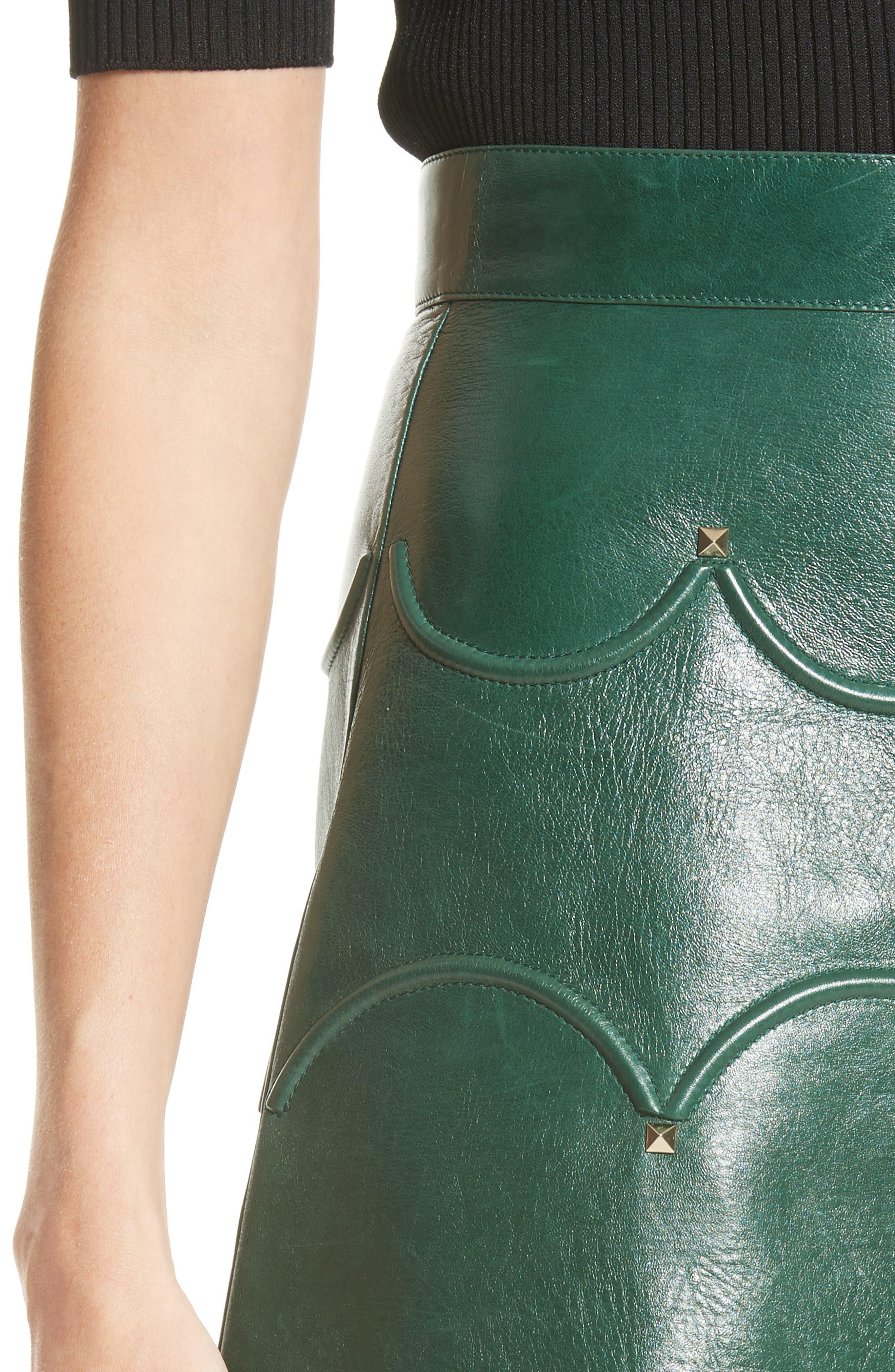 Alternate Image 6  - Valentino Scallop Detail Leather Miniskirt