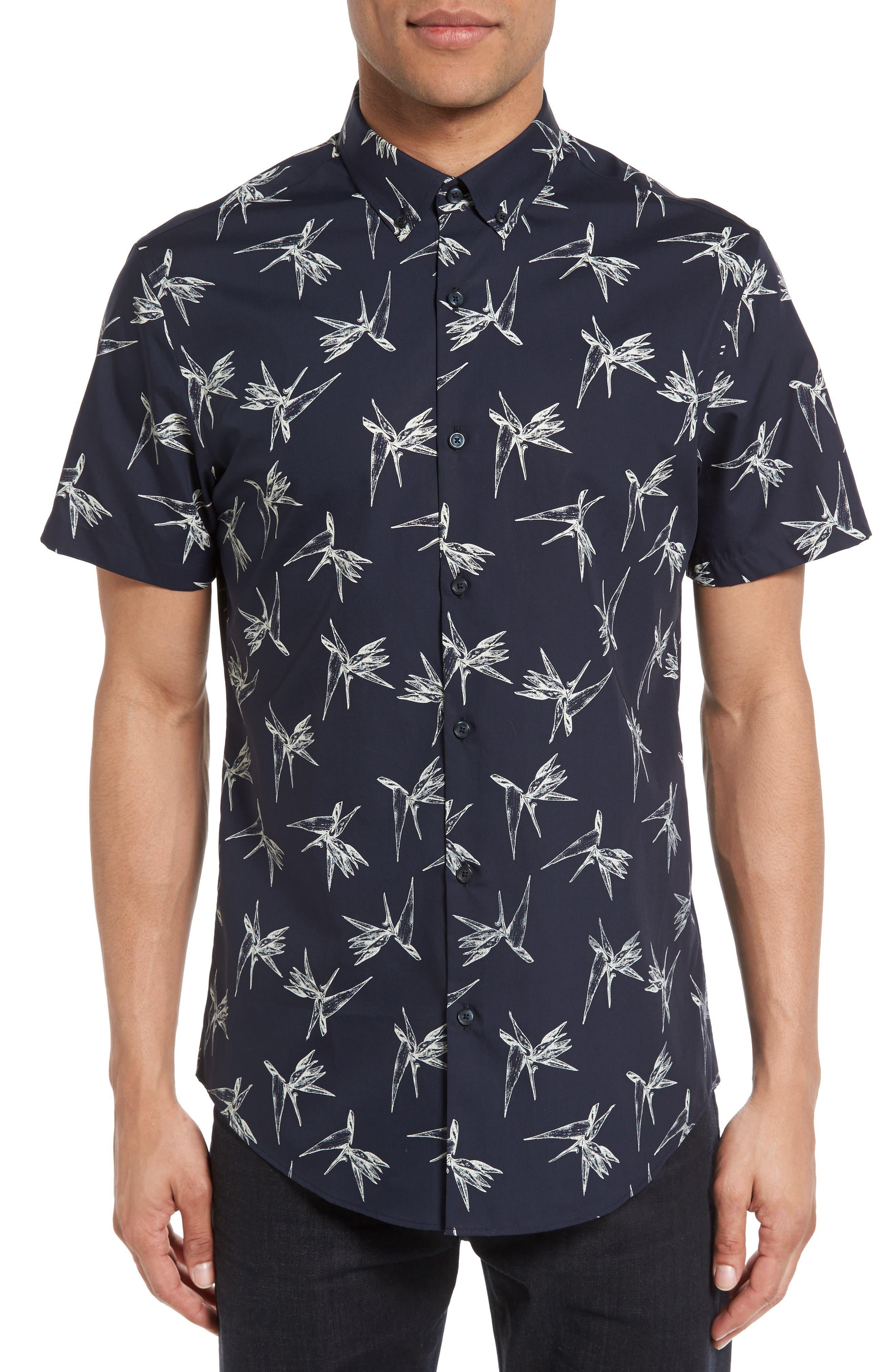 Non-Iron Sport Shirt,                         Main,                         color, Navy Night Ivory Bird Flower