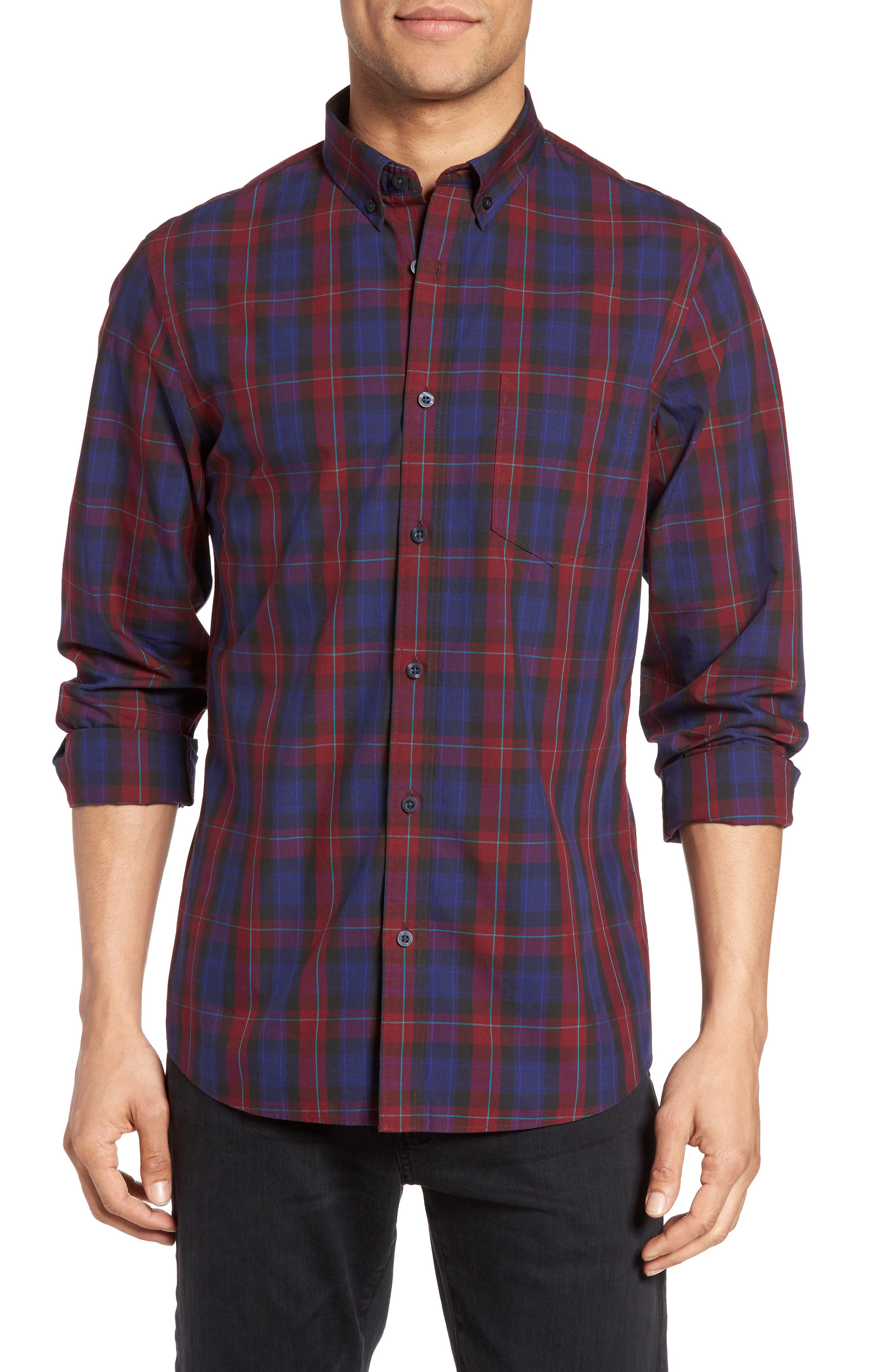 Slim Fit Plaid Sport Shirt,                         Main,                         color, Red Ruby Large Check