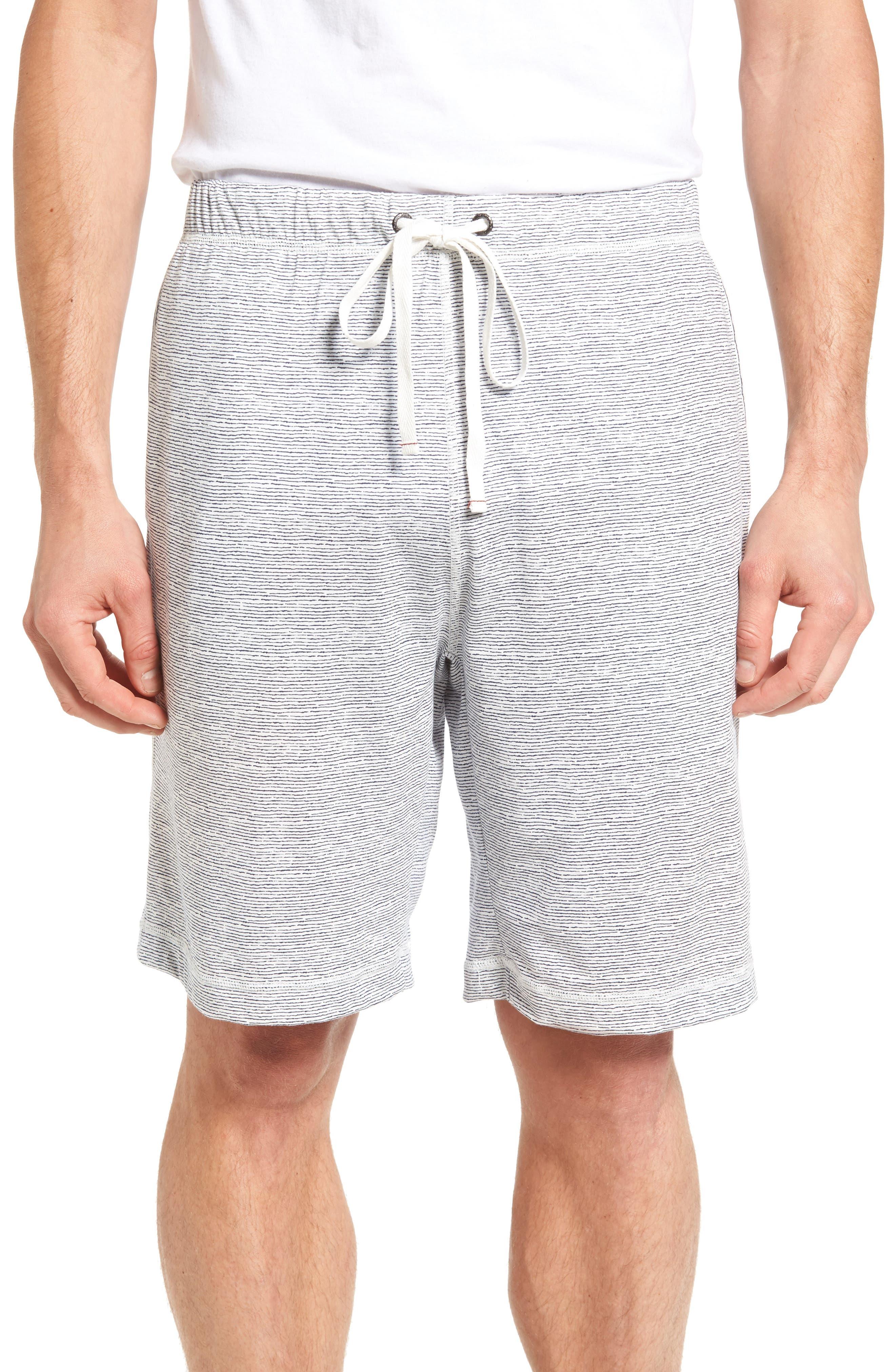 Feeder Stripe Pima Cotton & Modal Lounge Shorts,                         Main,                         color, Blue