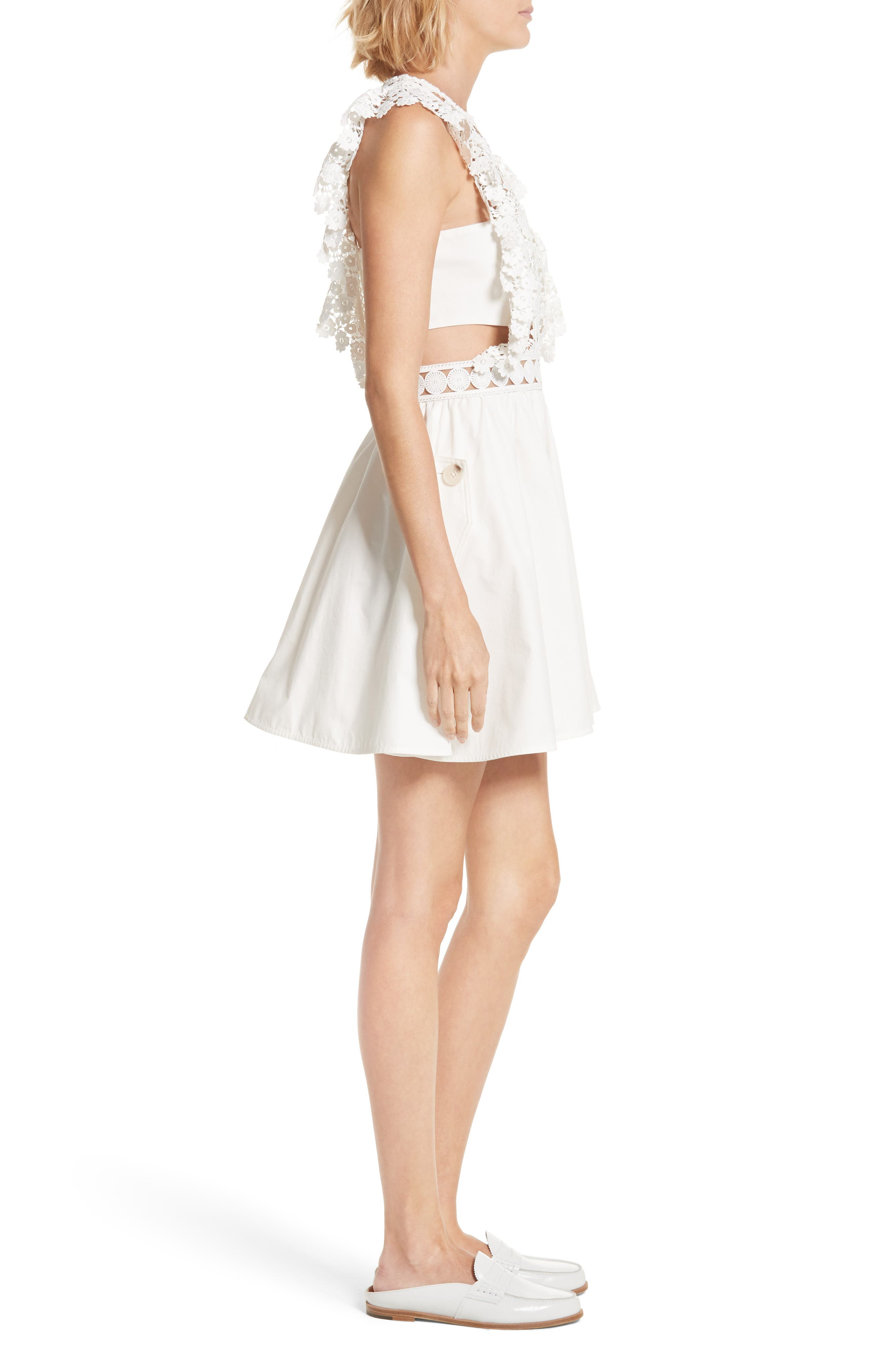 Floral Vine Minidress,                             Alternate thumbnail 3, color,                             White