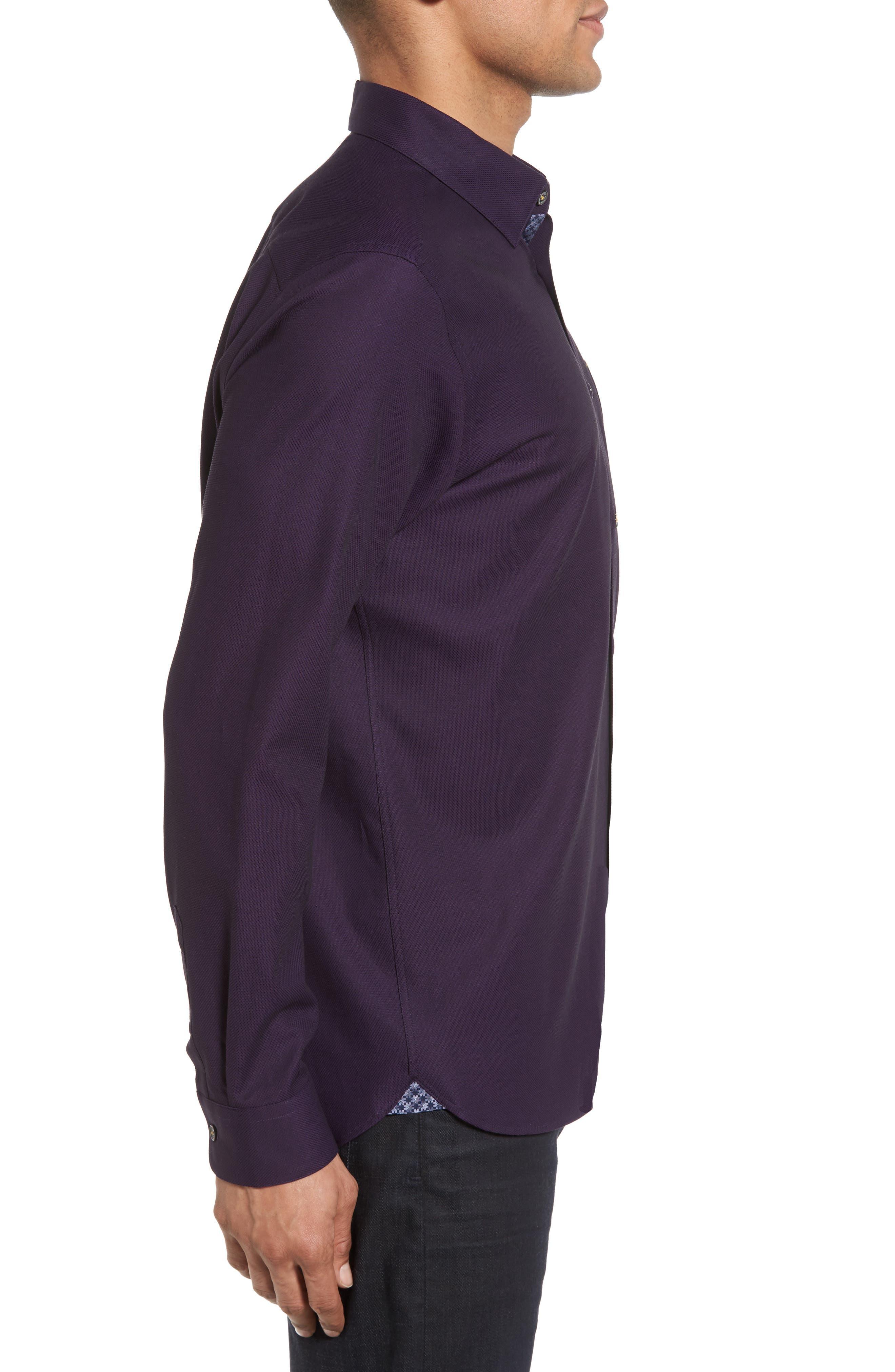 Nordlux Modern Slim Fit Stretch Cotton Sport Shirt,                             Alternate thumbnail 3, color,                             Deep Purple
