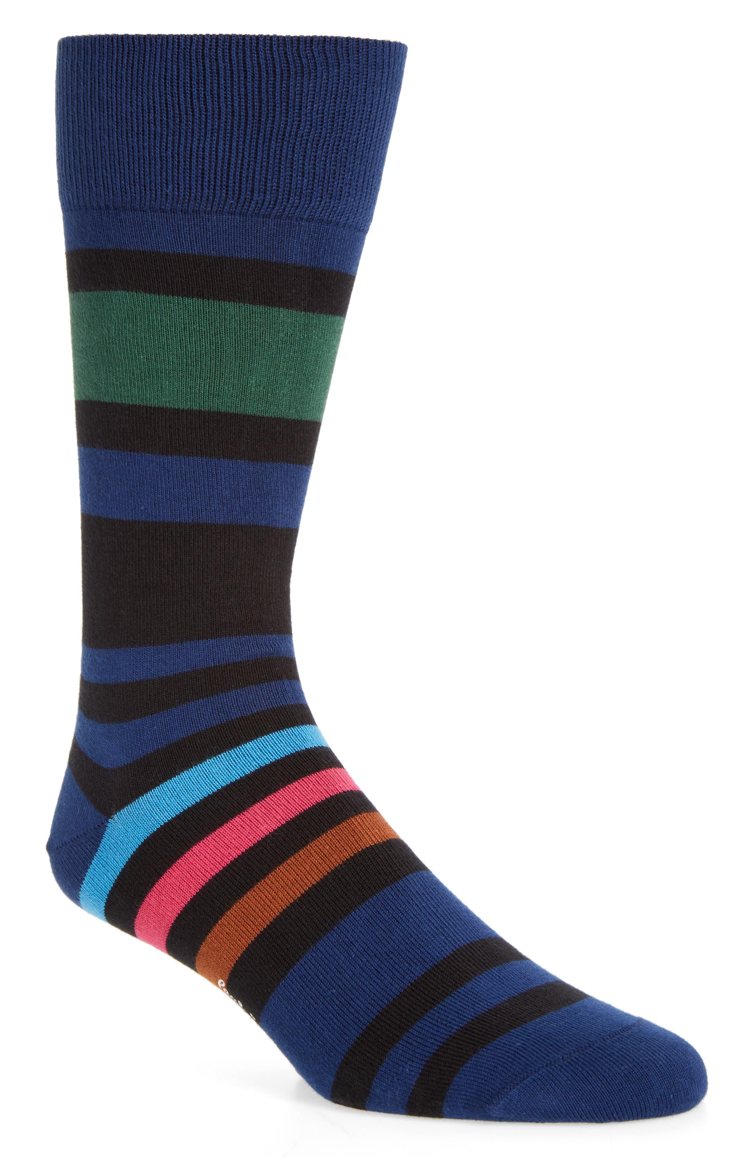 Odd Block Stripe Socks,                         Main,                         color, Navy