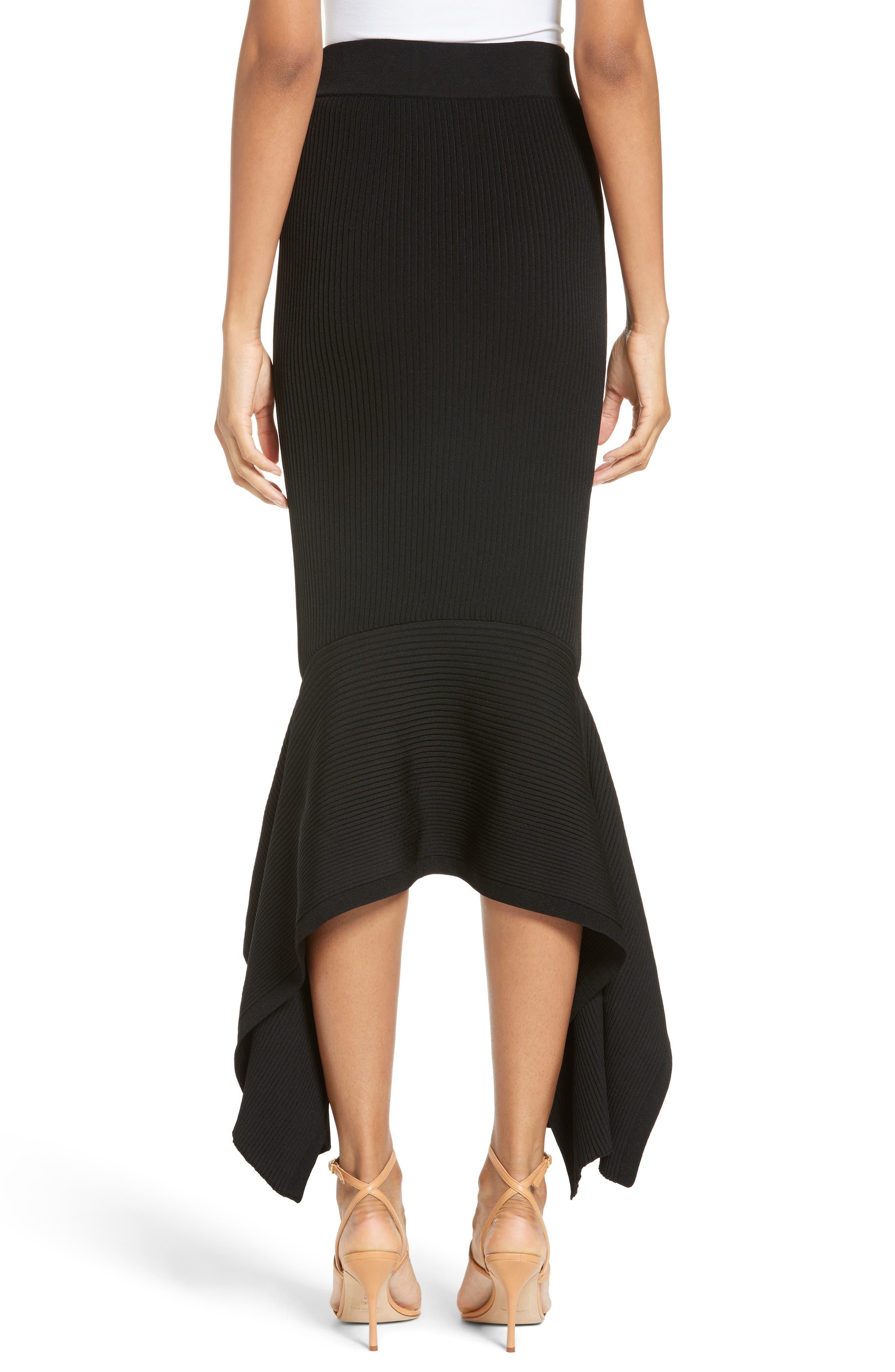 Rib Knit Ruffle Hem Midi Skirt,                             Alternate thumbnail 2, color,                             Black
