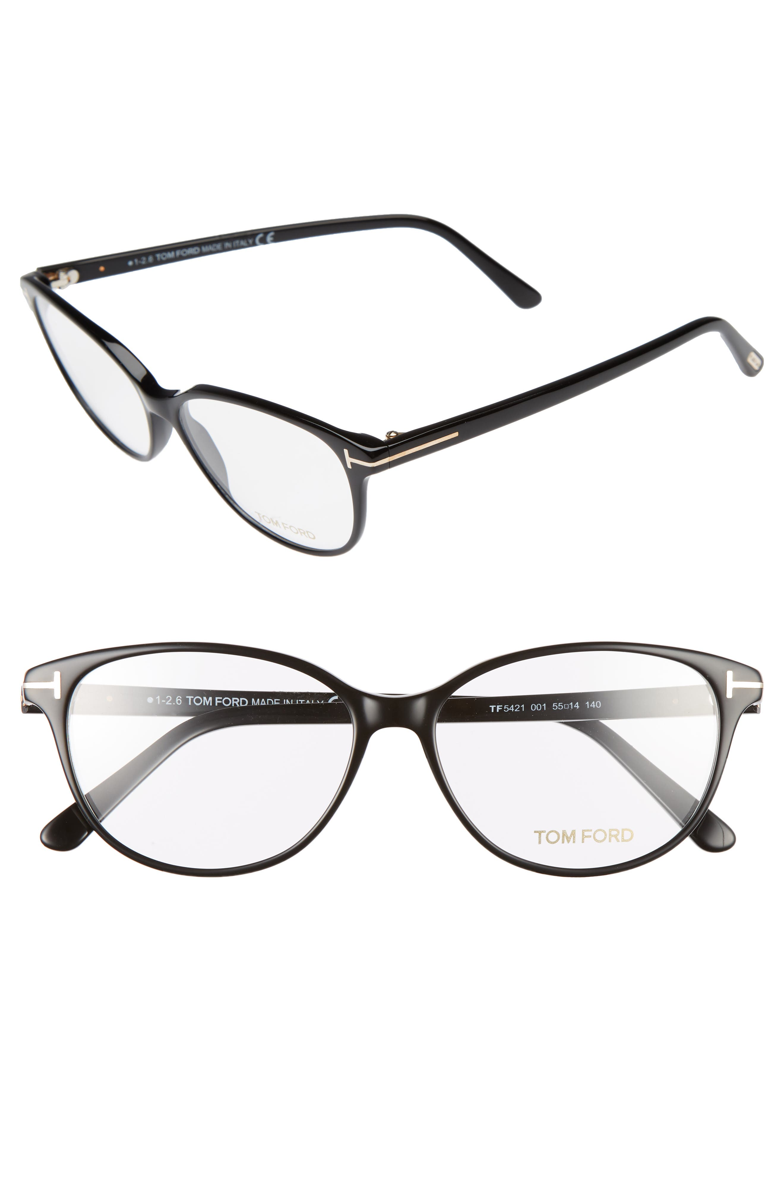 55mm Optical Glasses,                         Main,                         color, Shiny Black