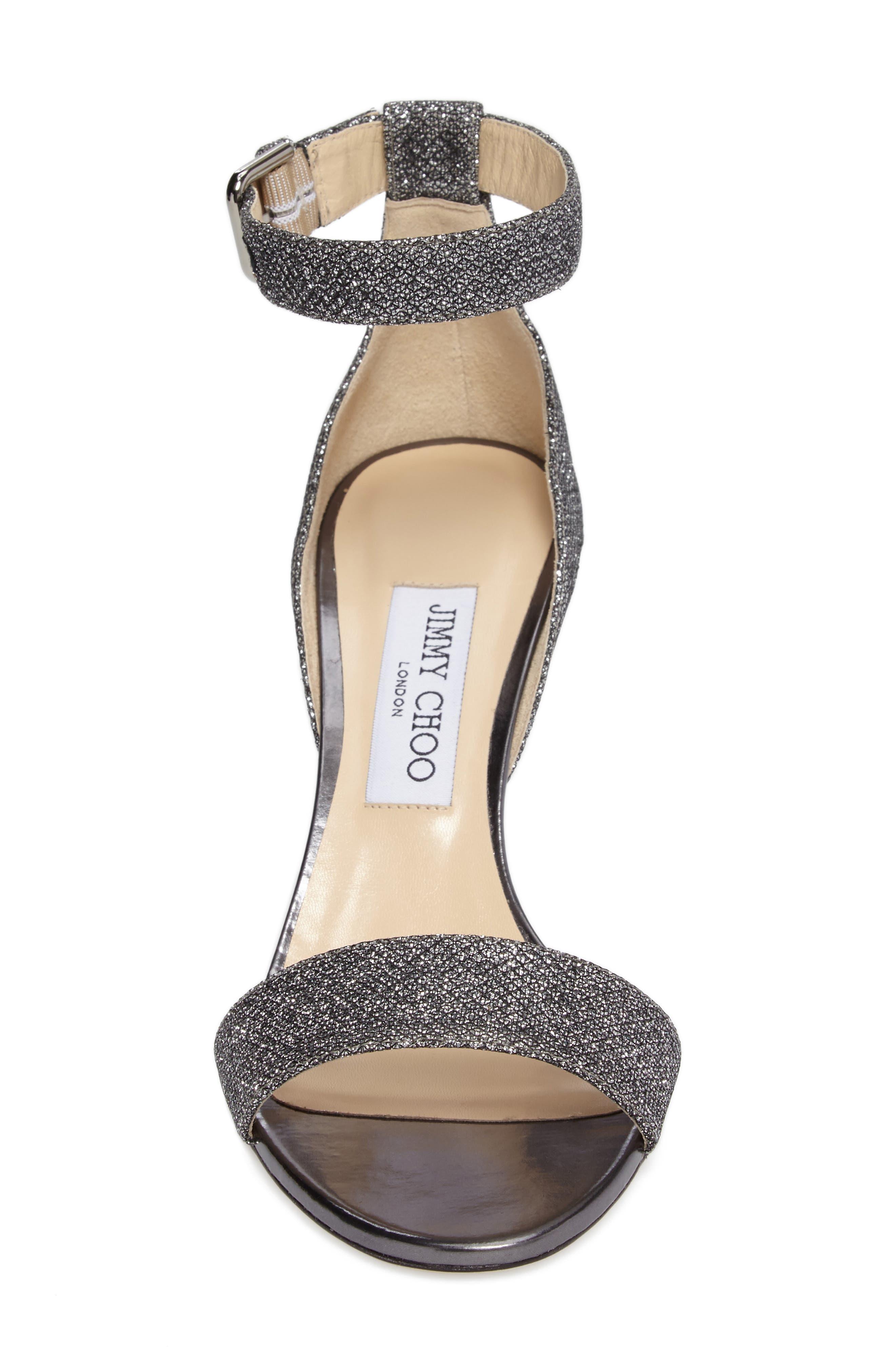 Edina Ankle Strap Sandal,                             Alternate thumbnail 4, color,                             Anthracite