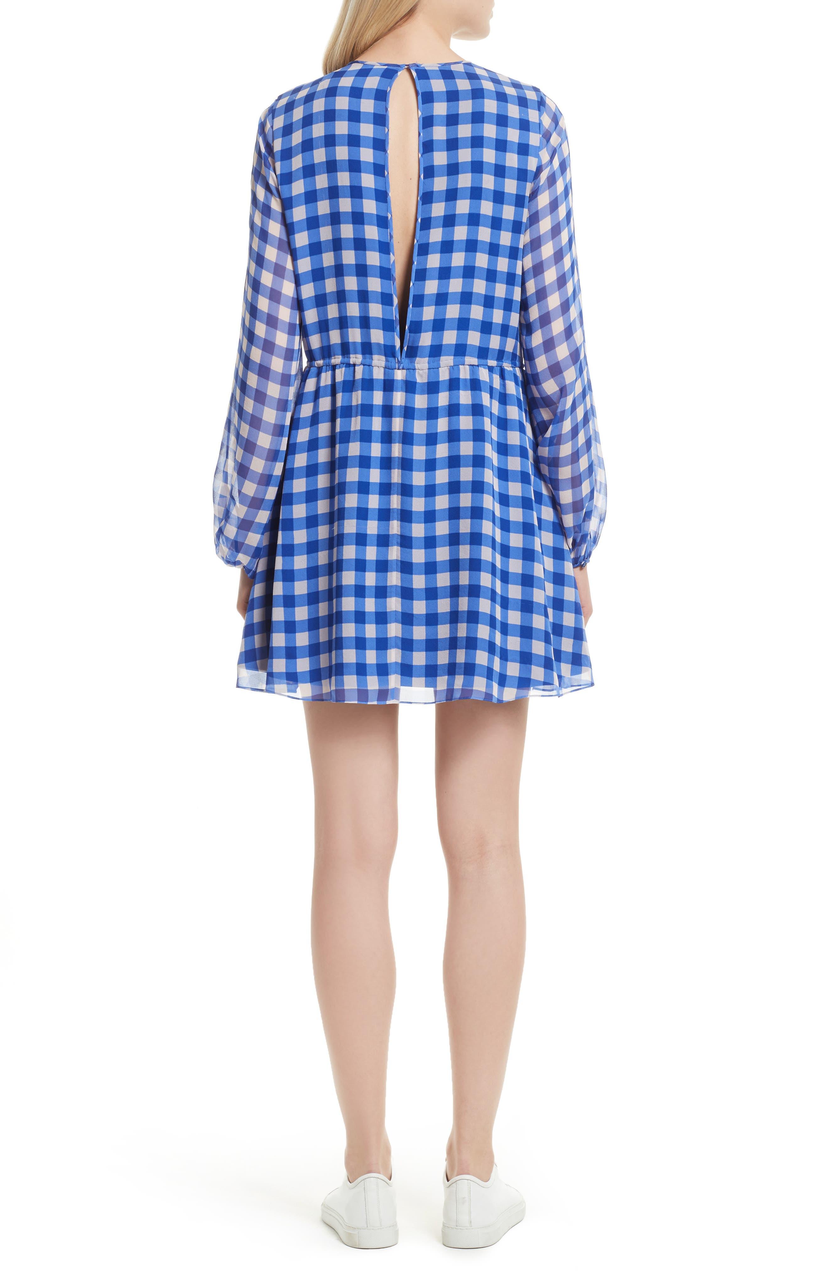 Check Silk Tie Waist Minidress,                             Alternate thumbnail 2, color,                             Klein Blue