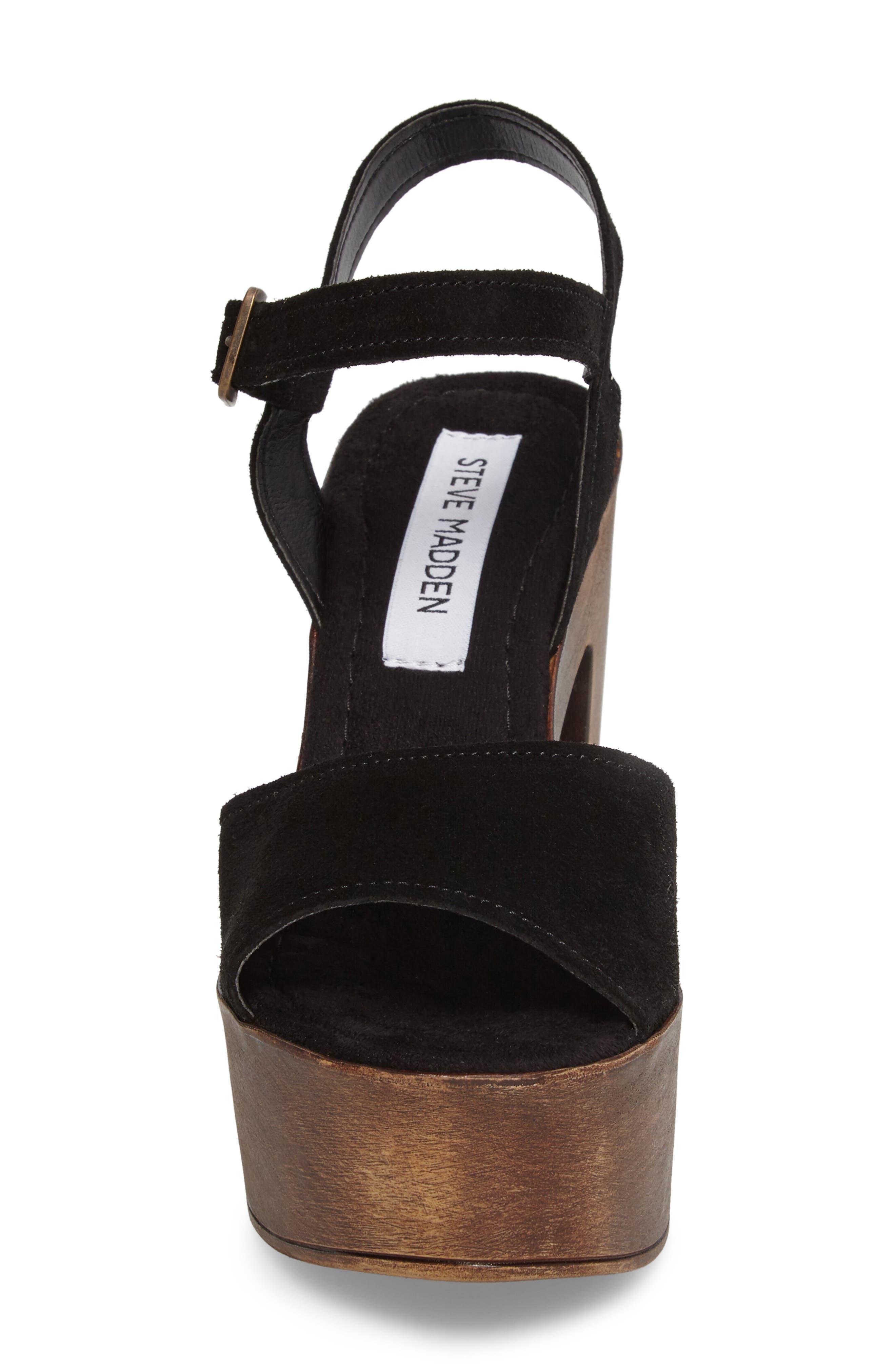 Lulla Platform Sandal,                             Alternate thumbnail 4, color,                             Black Suede