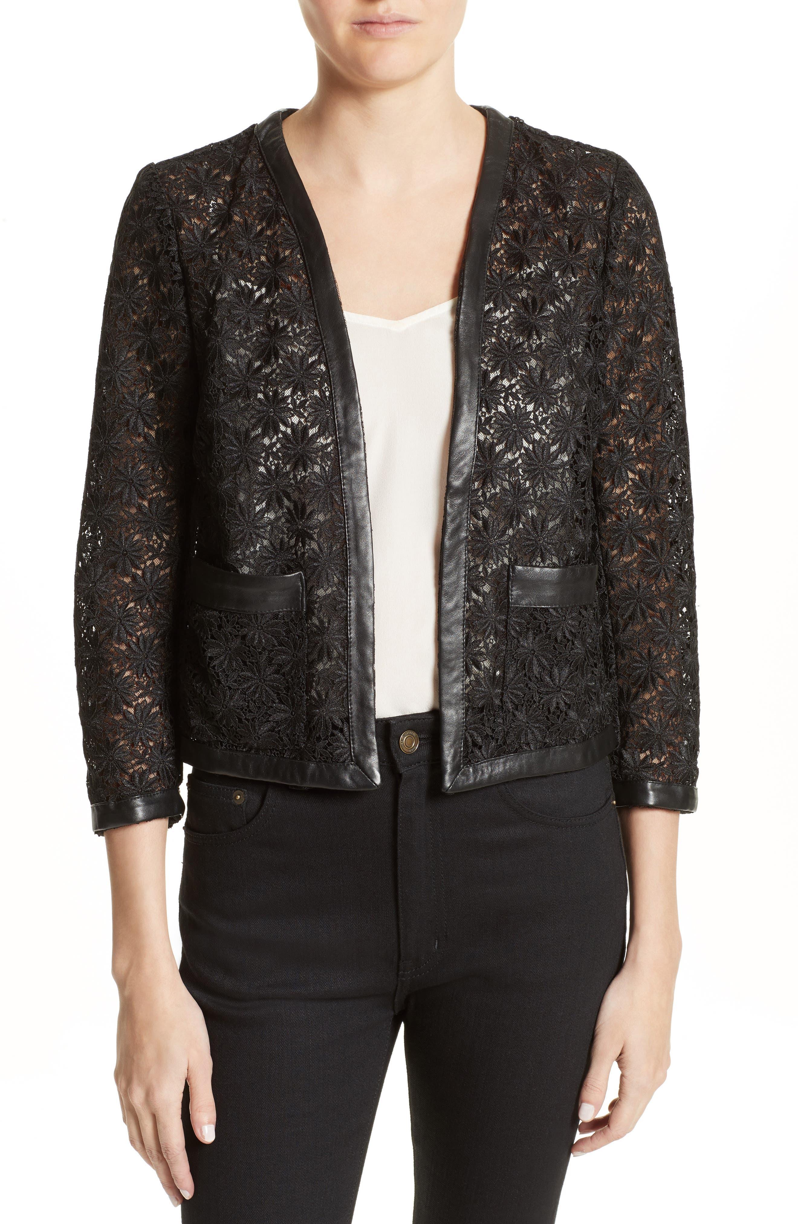 Faux Leather Trim Lace Jacket,                         Main,                         color, Black
