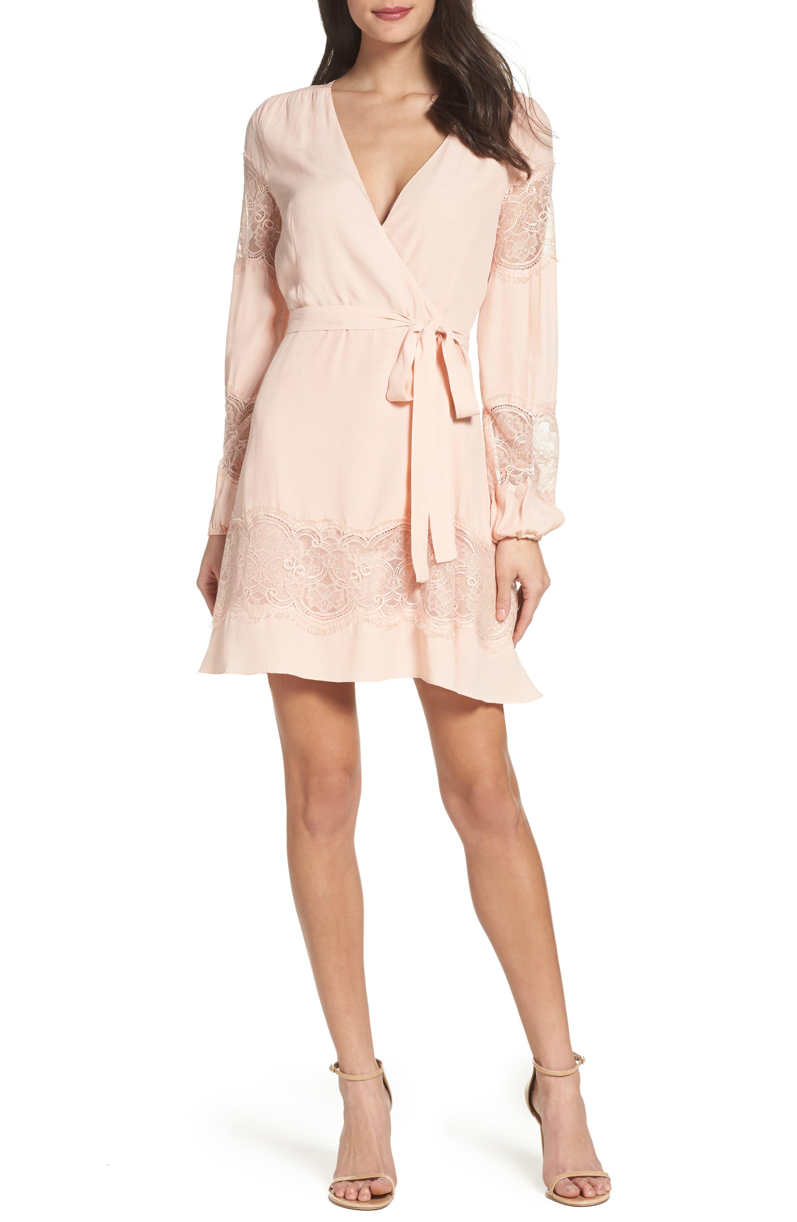 BB Dakota Shawna Crepe Wrap Dress,                         Main,                         color, Soft Blush