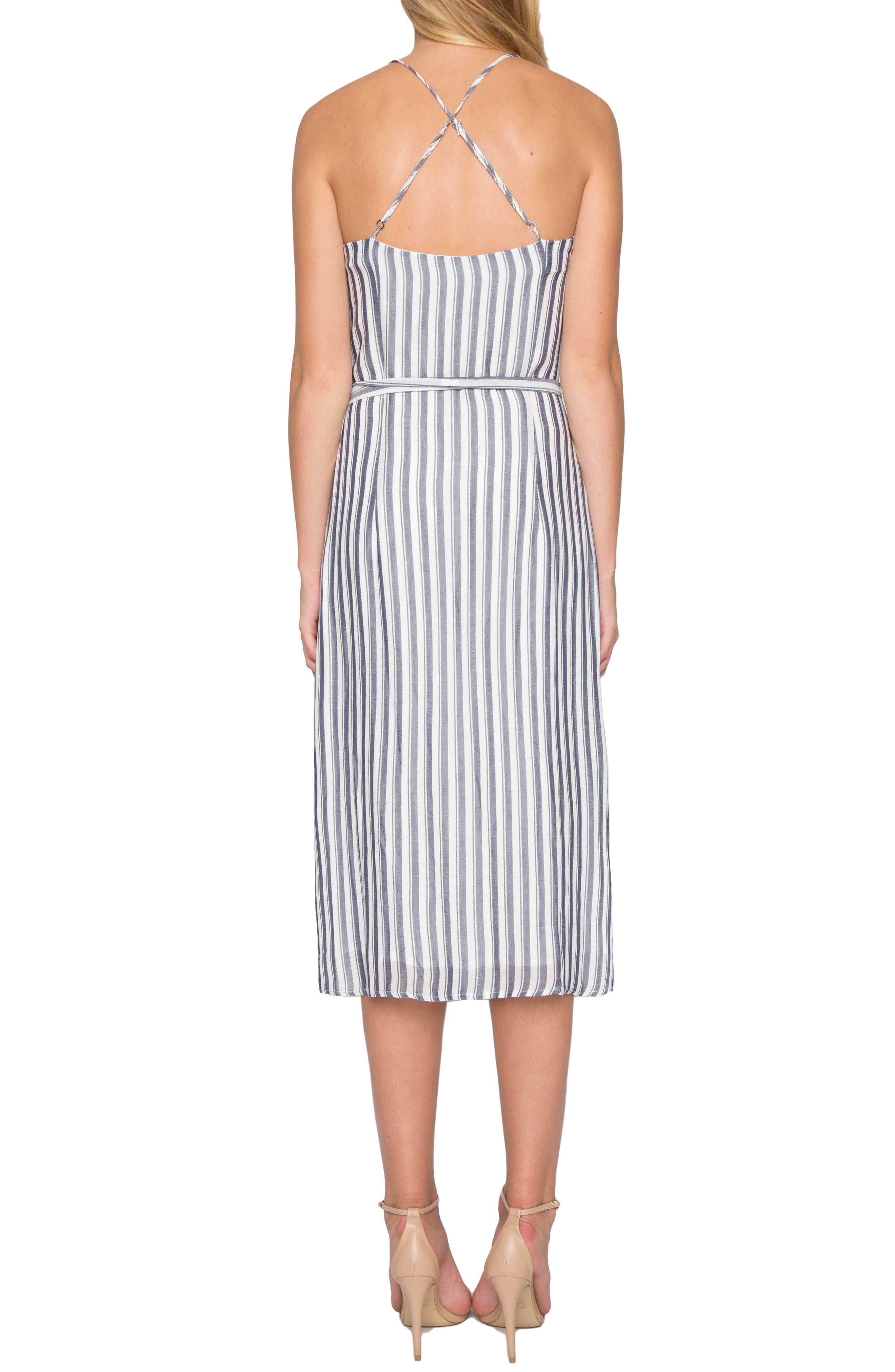 Stripe Midi Dress,                             Alternate thumbnail 2, color,                             Denim