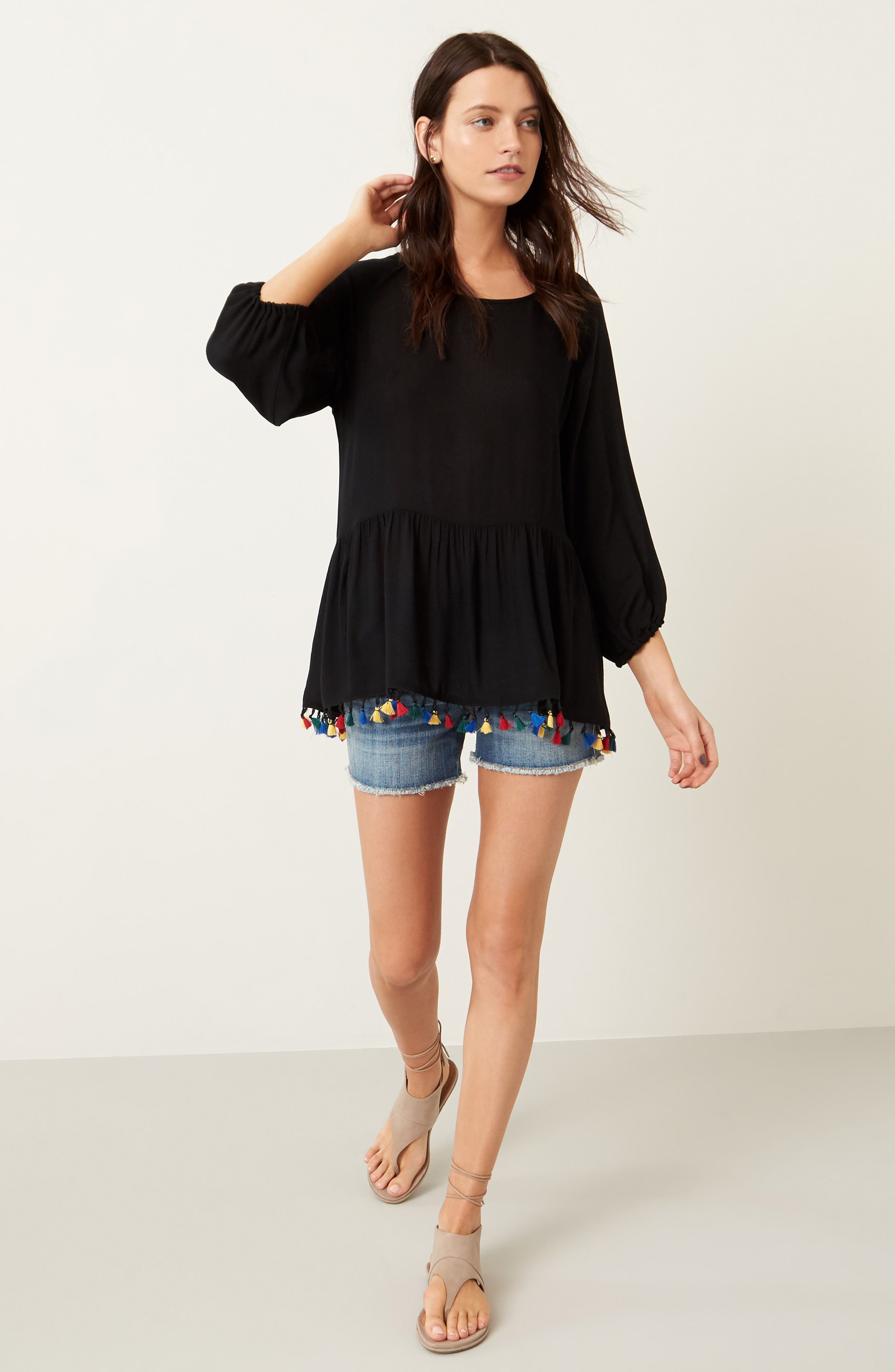 Alternate Image 2  - Pleione Ruffle Tassel Trim Top