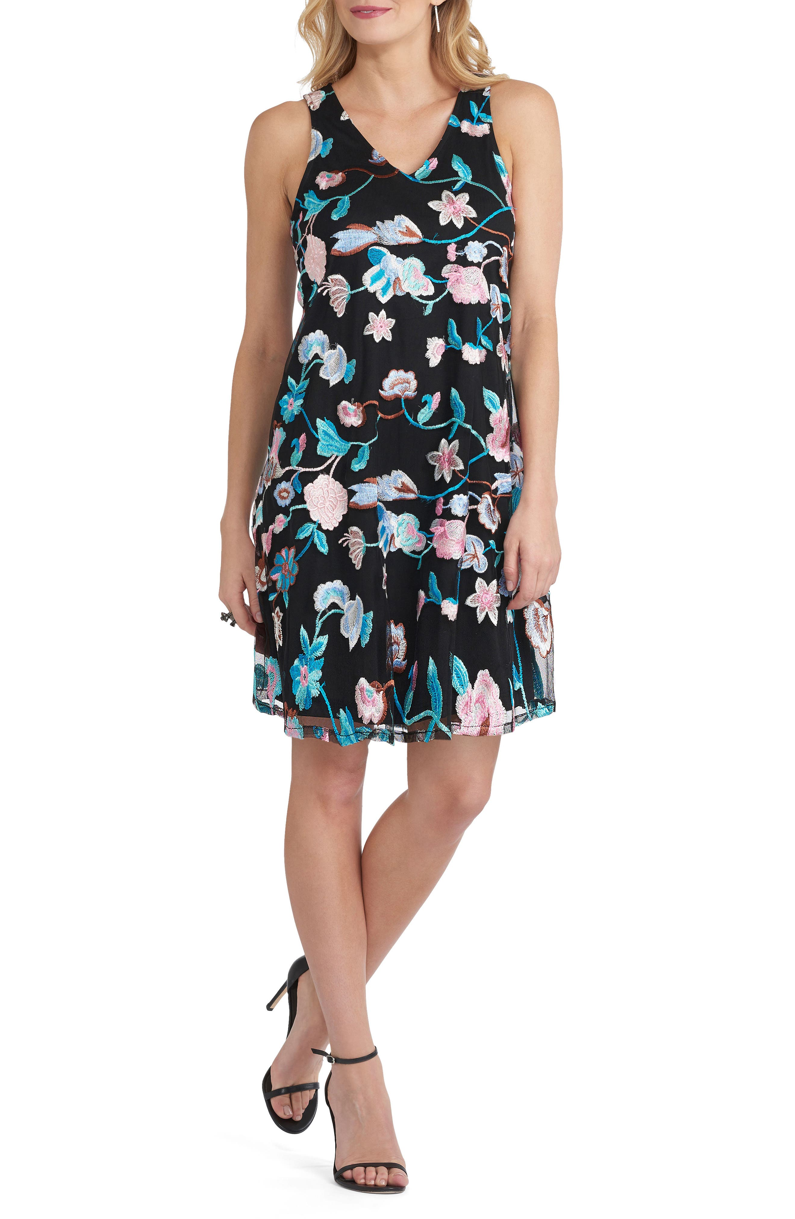 Embroidered Dress,                         Main,                         color, Teal/ Multi