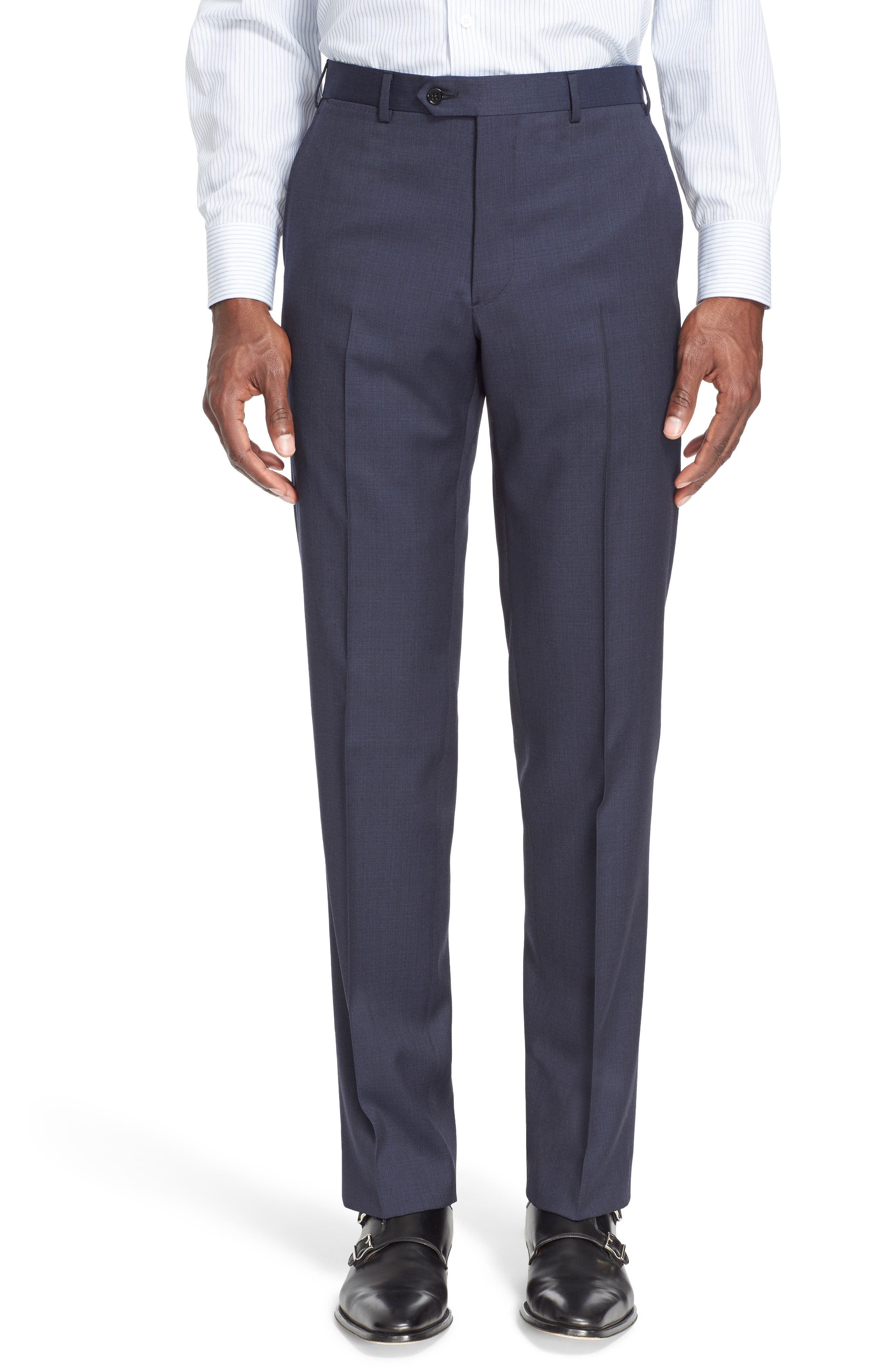 Trim Fit Solid Wool Suit,                             Alternate thumbnail 6, color,                             Navy