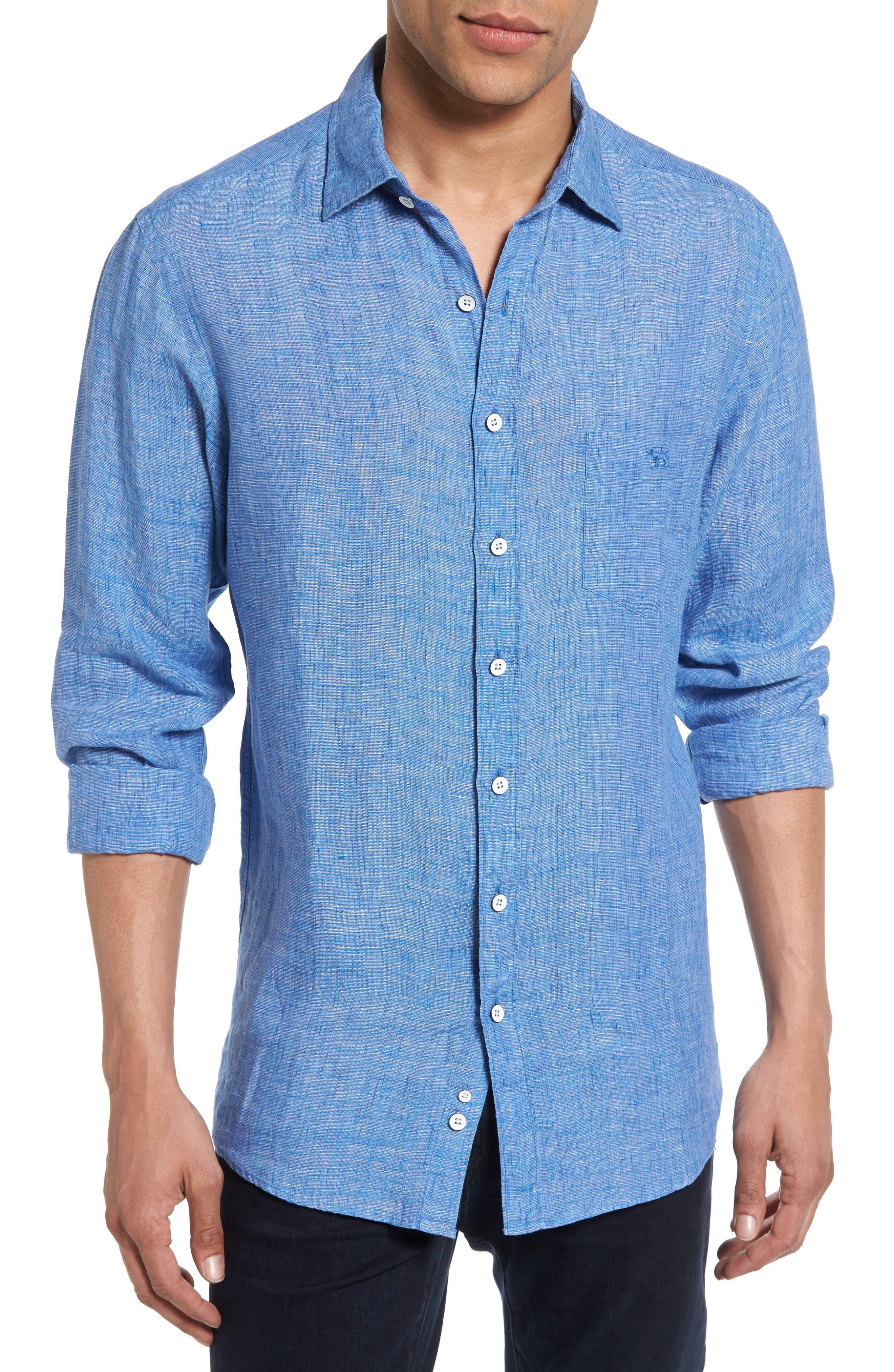 Norsewood Sports Fit Linen Sport Shirt,                         Main,                         color, Ocean