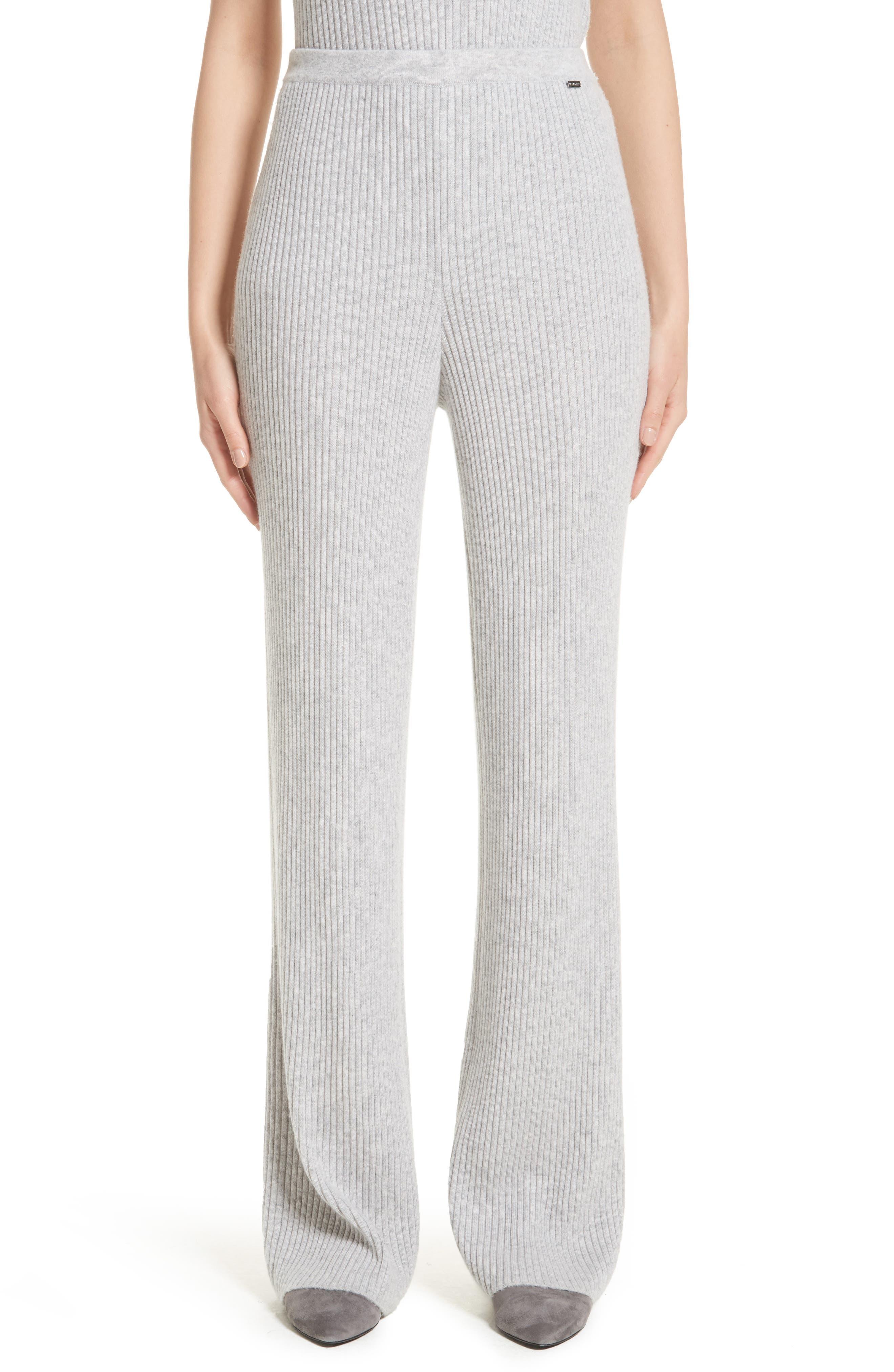 Cashmere Knit Pants,                         Main,                         color, Light Grey Melange