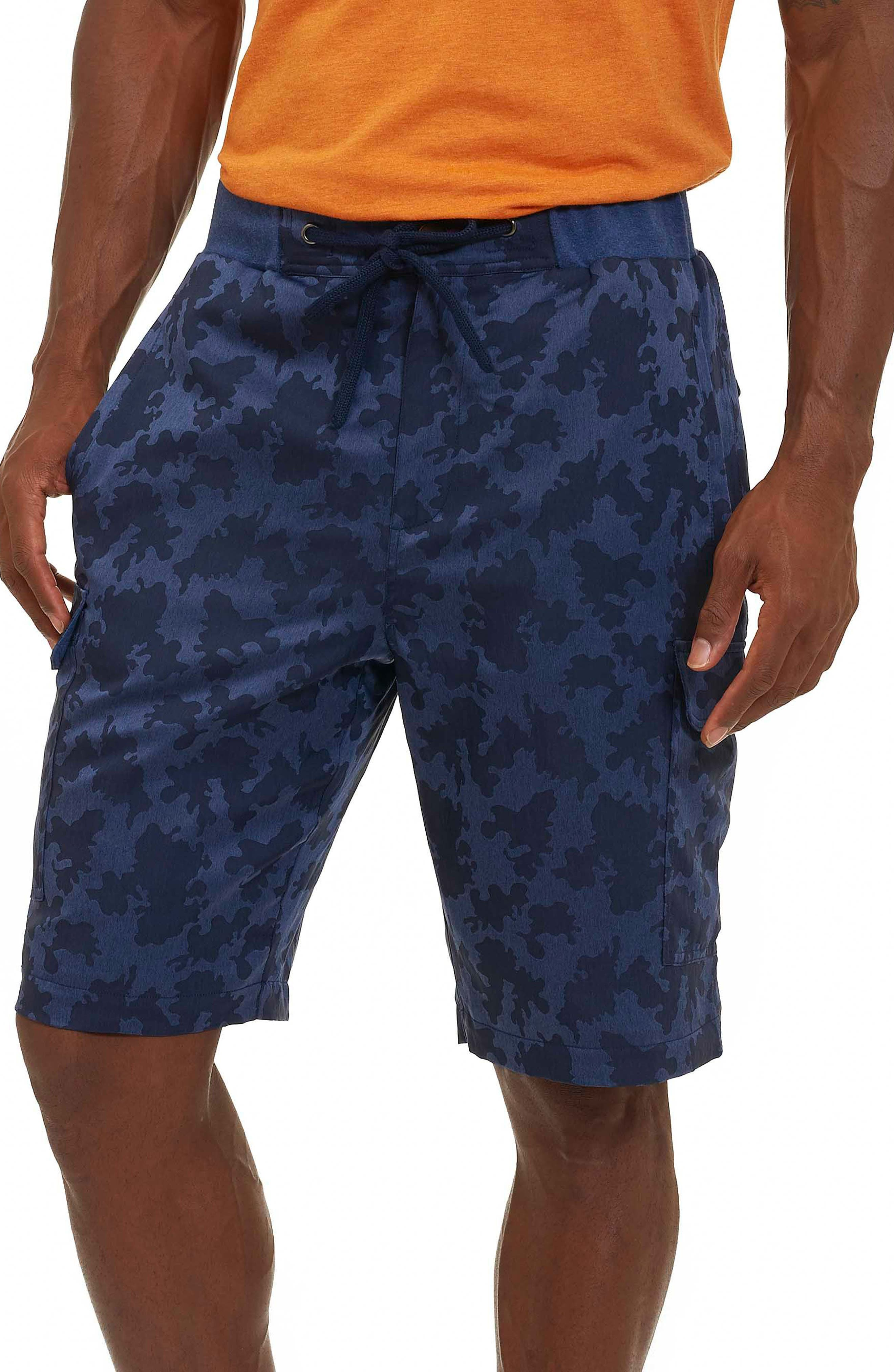 Anish Camo Cargo Shorts,                         Main,                         color, Blue