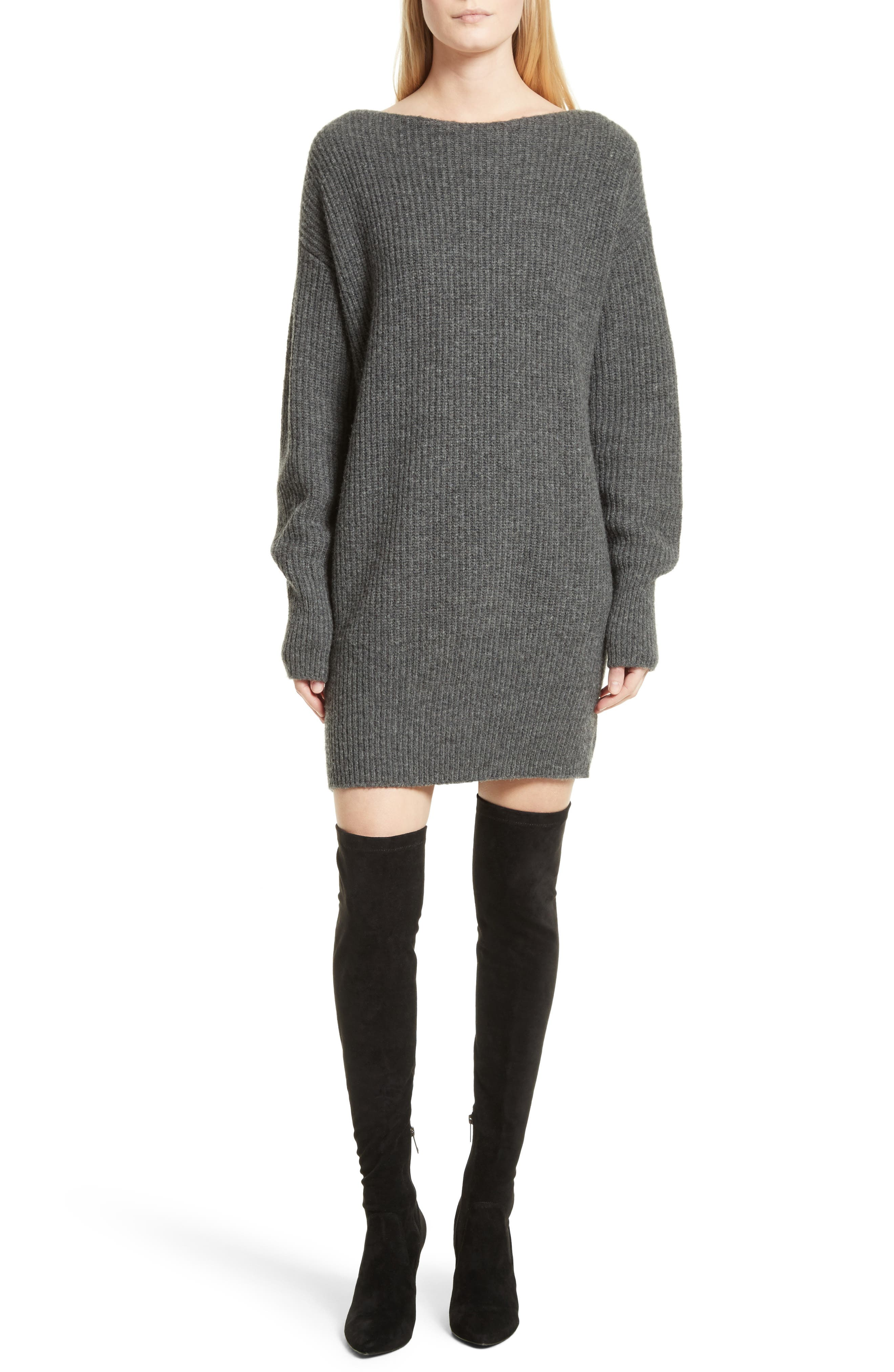 Nimbus Wool Ribbed Cocoon Dress,                             Main thumbnail 1, color,                             Light Charcoal