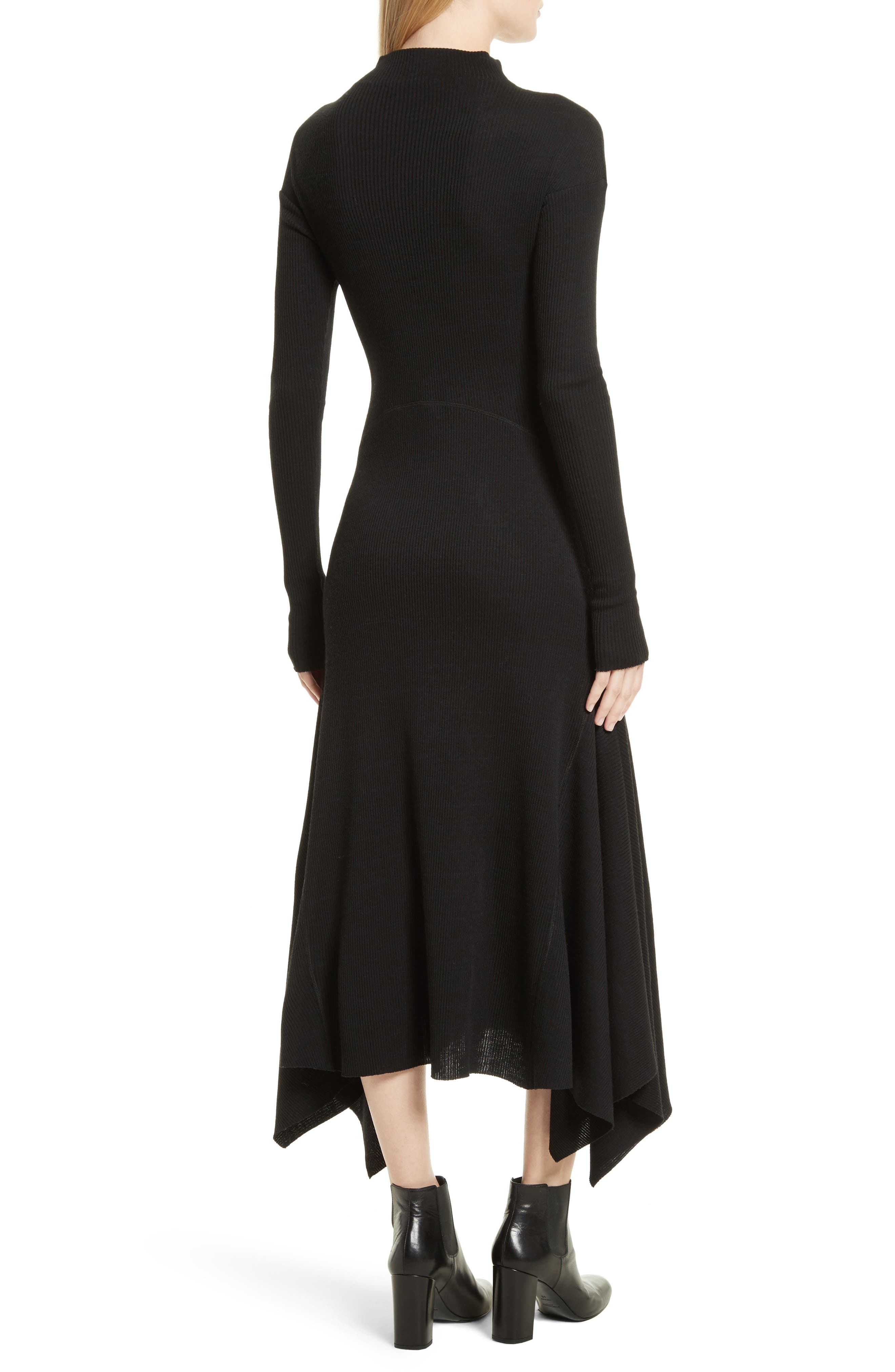 Ribbed Sweater Dress,                             Alternate thumbnail 2, color,                             Black