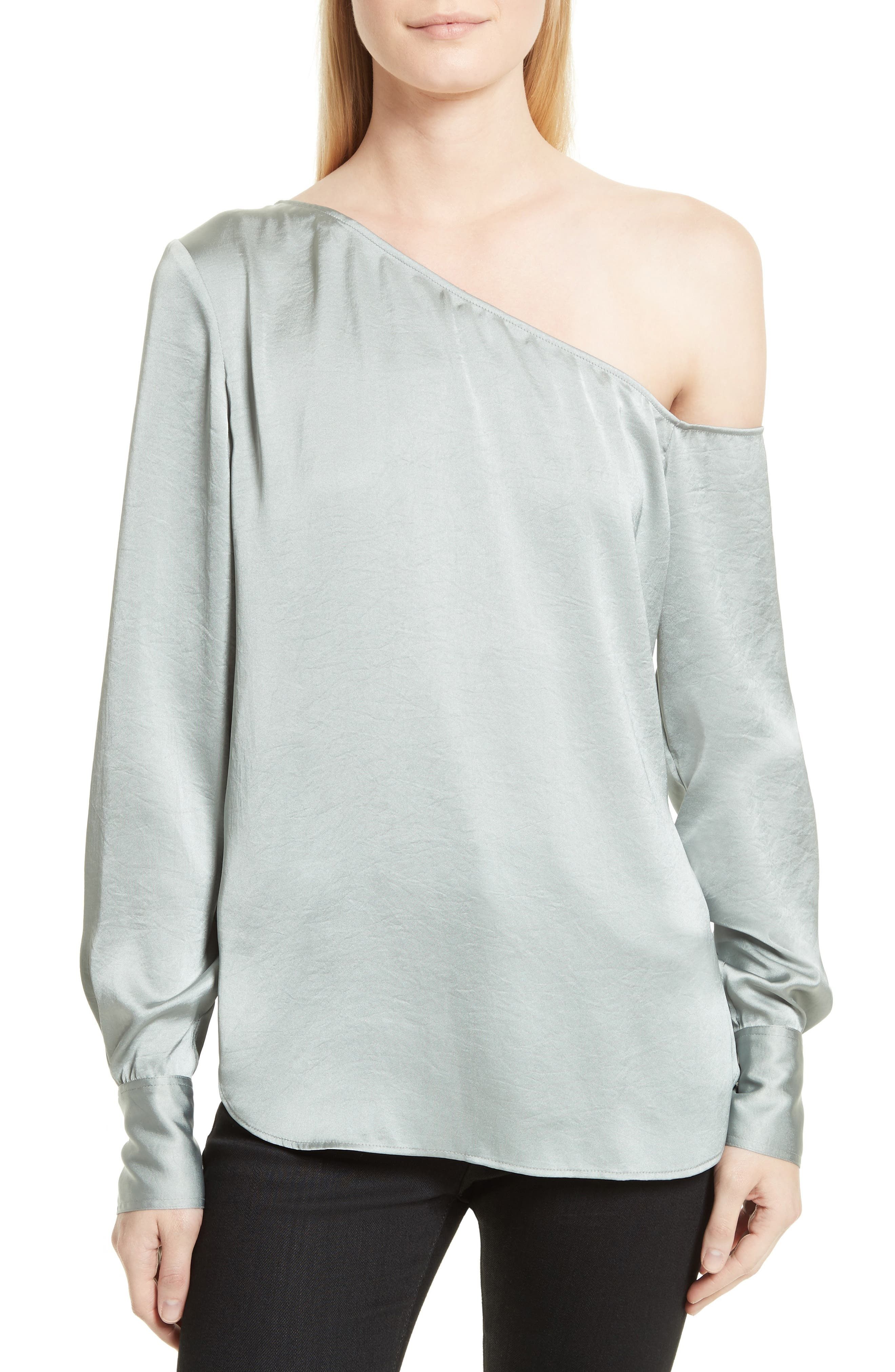 Theory Ulrika 2 Crushed Satin Blouse