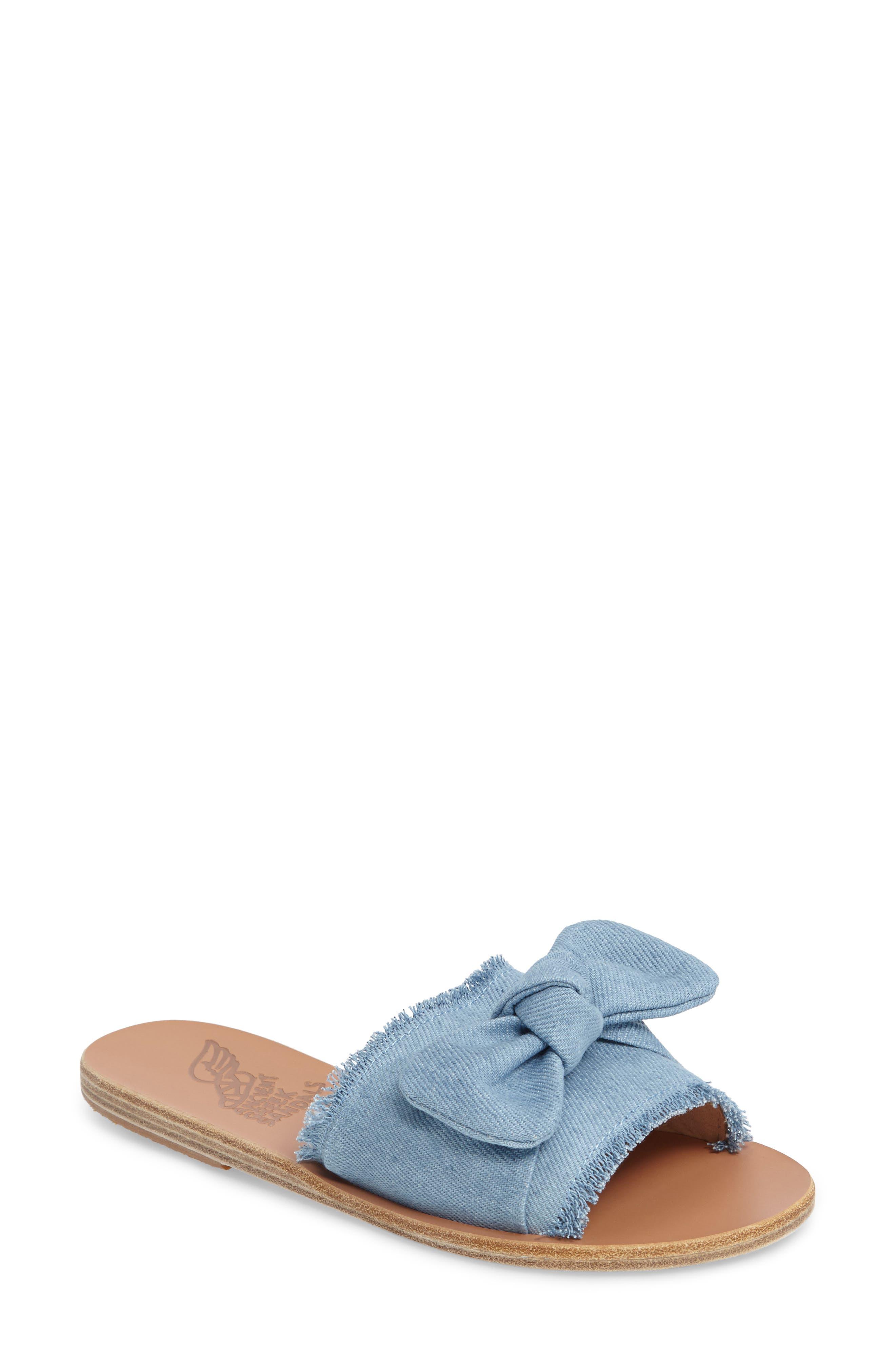 Ancient Greek Sandals Taygete Bow slidder sandals velvet dusty pink DOGNKS