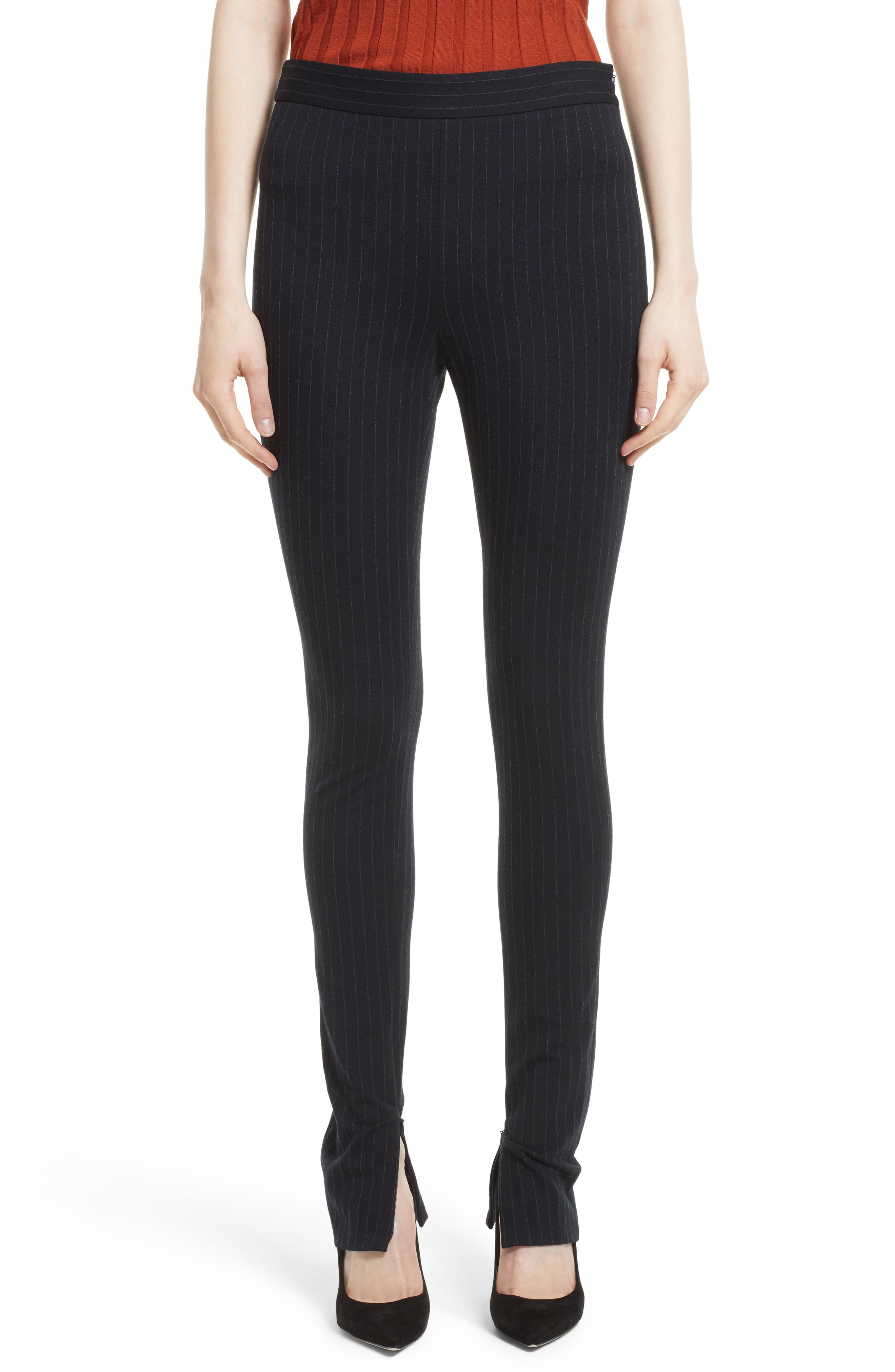 Theory High Waist Pinstripe Pants