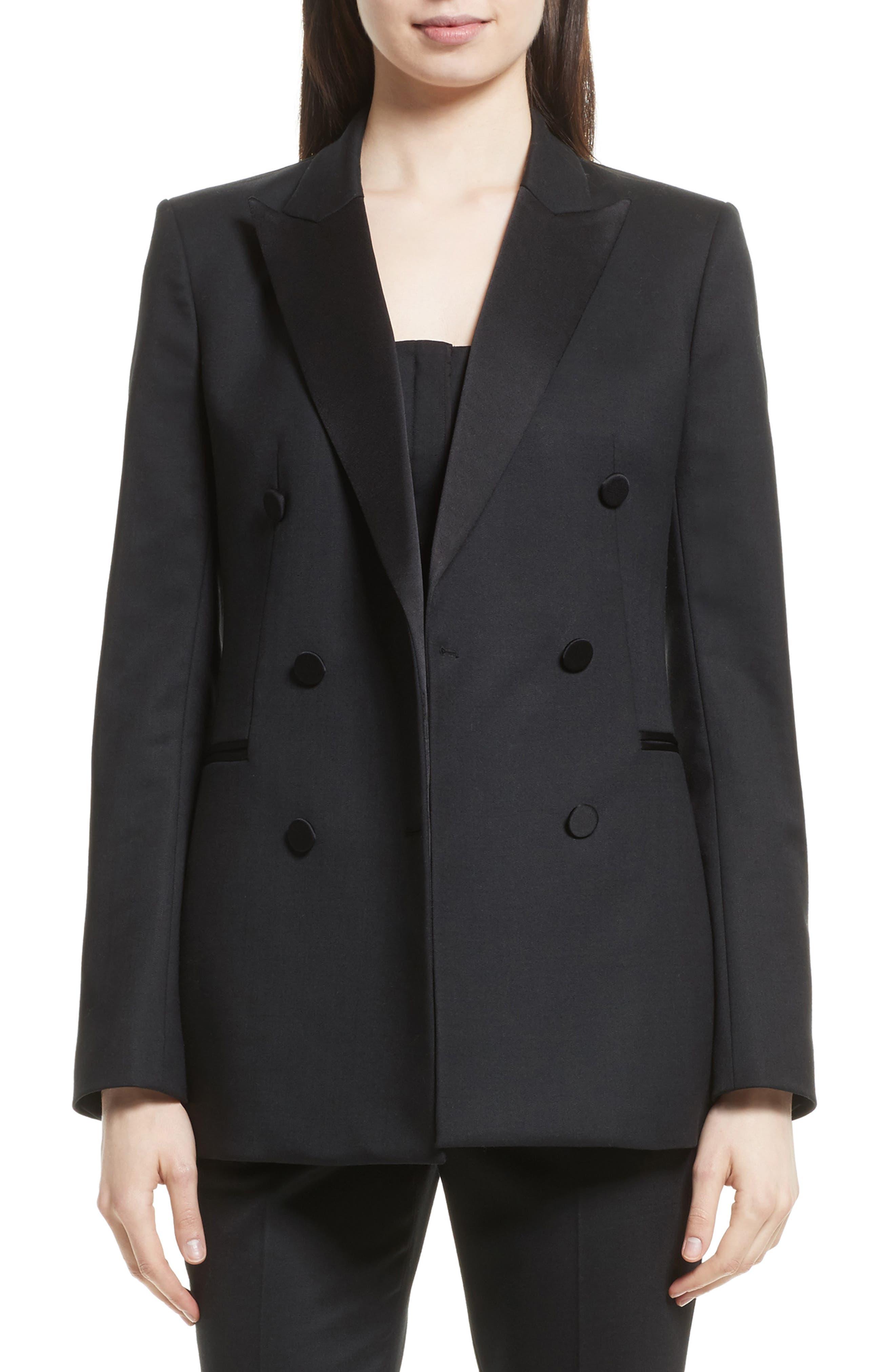 Wool Blend Tuxedo Jacket,                             Main thumbnail 1, color,                             Black