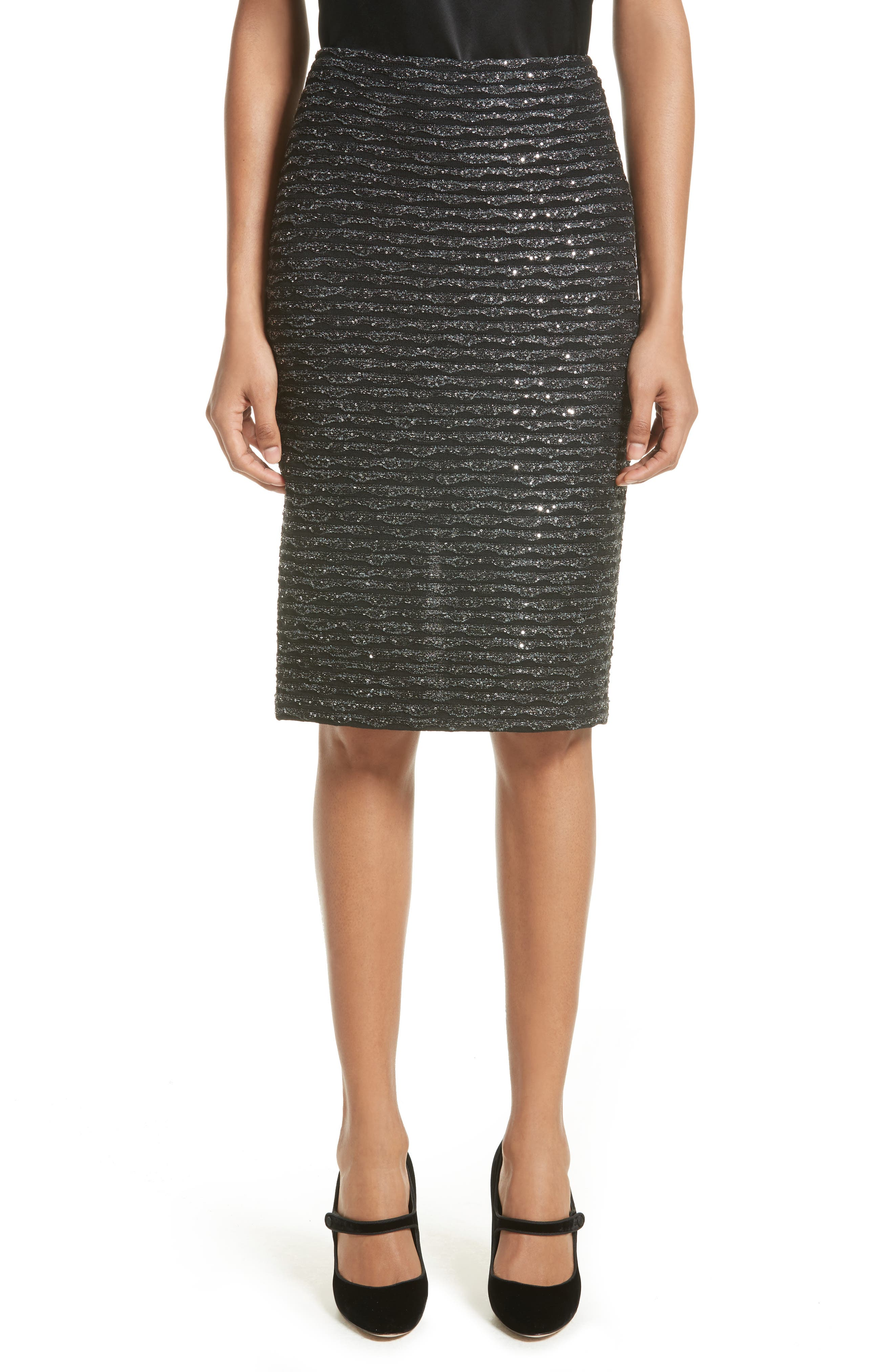 Sparkle Wave Tweed Knit Skirt,                         Main,                         color, Caviar Multi