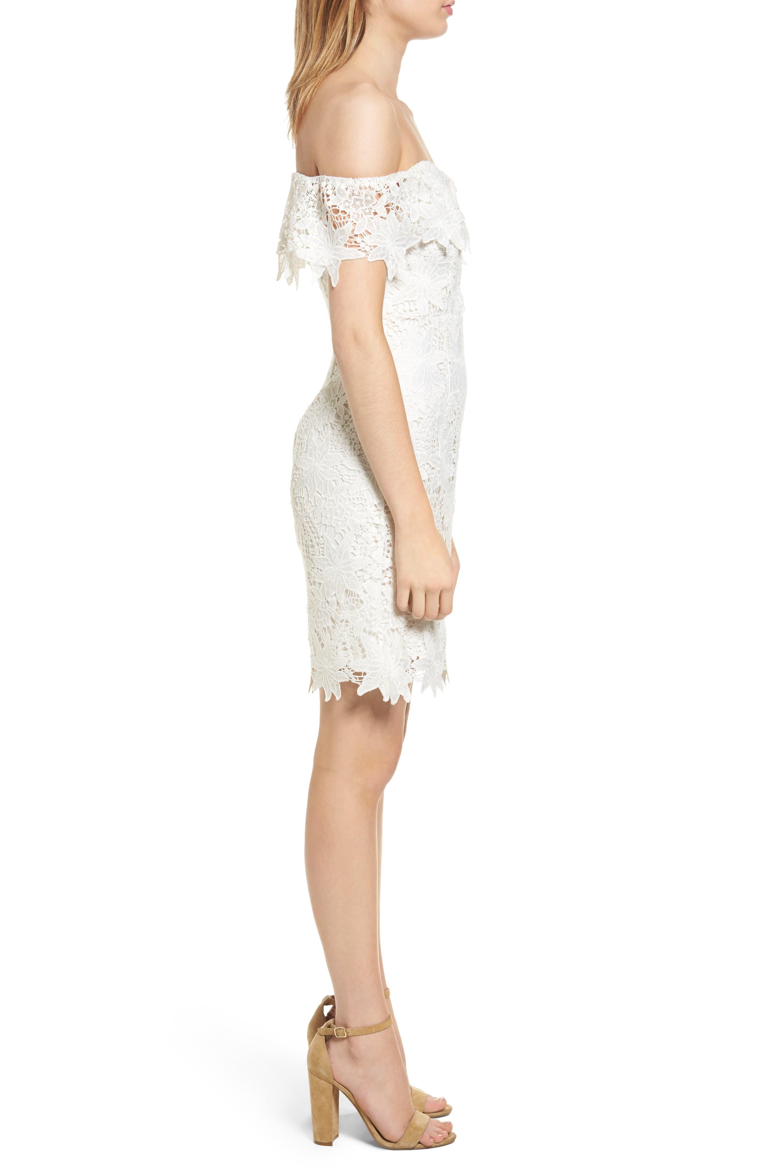 Daniella Lace Body-Con Dress,                             Alternate thumbnail 4, color,                             White