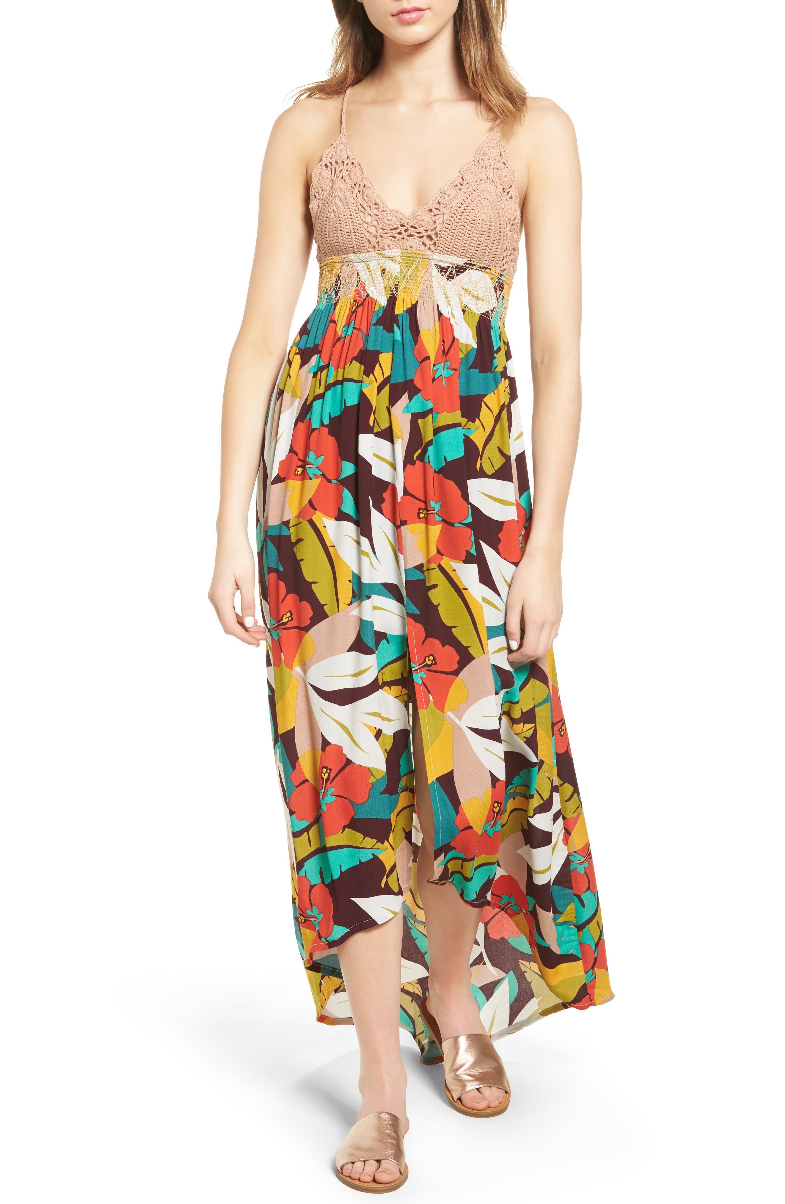 ASTR THE LABEL Paola Crochet Maxi Dress