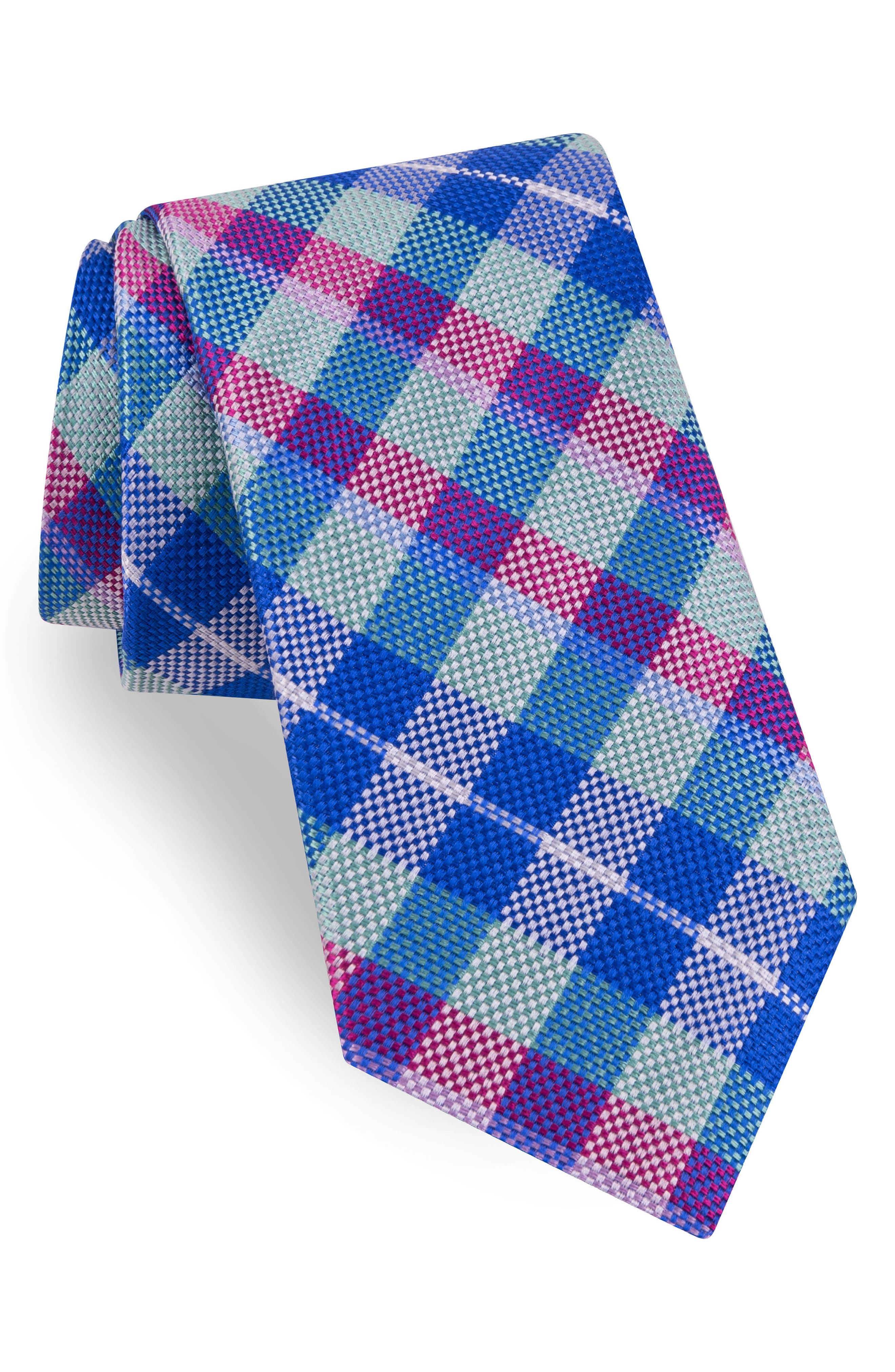 Plaid Silk Tie,                             Main thumbnail 1, color,                             Pink/ Blue
