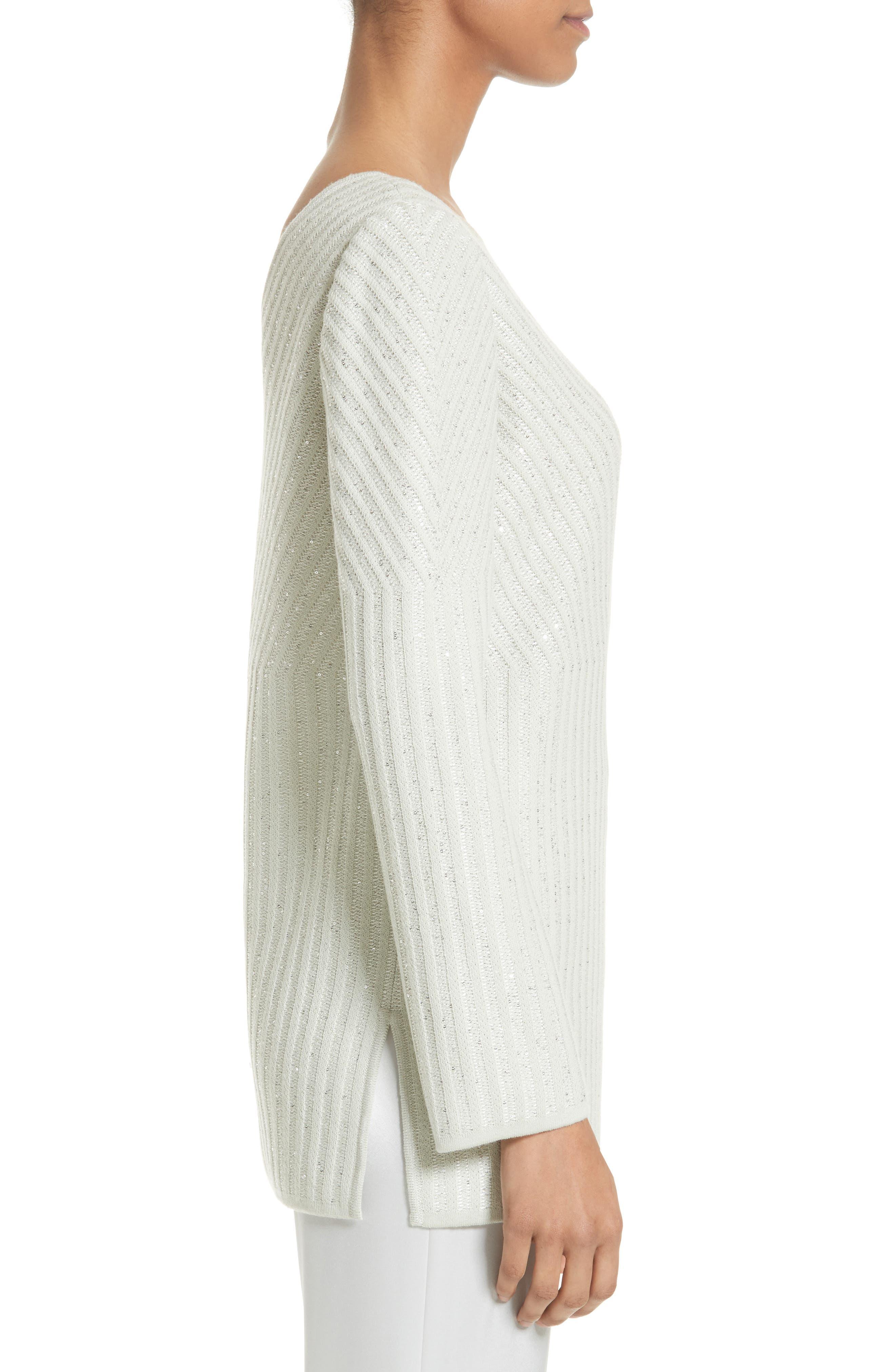 Sparkle Engineered Rib Sweater,                             Alternate thumbnail 3, color,                             Jasmine