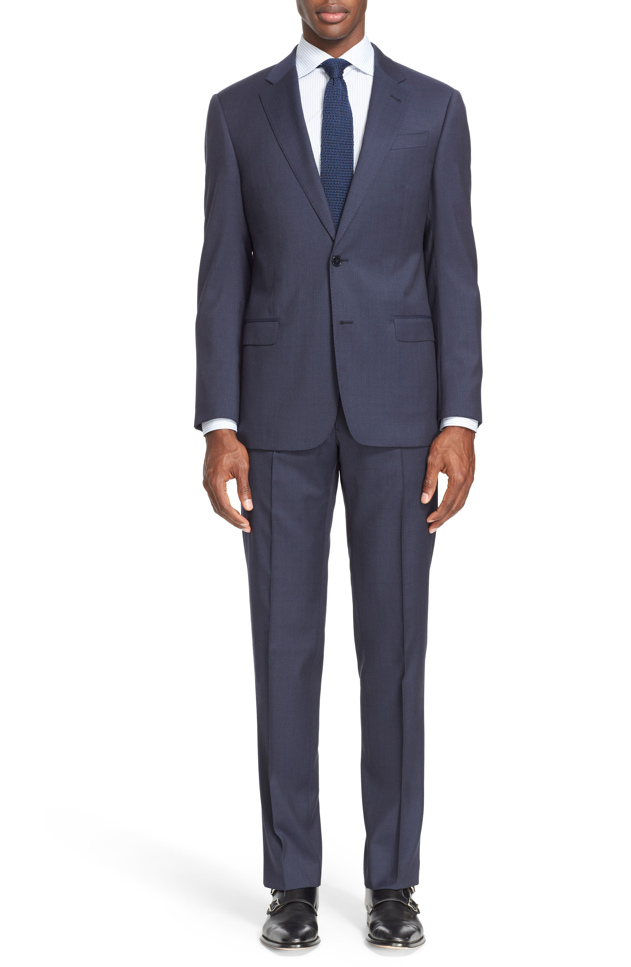 Trim Fit Solid Wool Suit,                             Main thumbnail 1, color,                             Navy