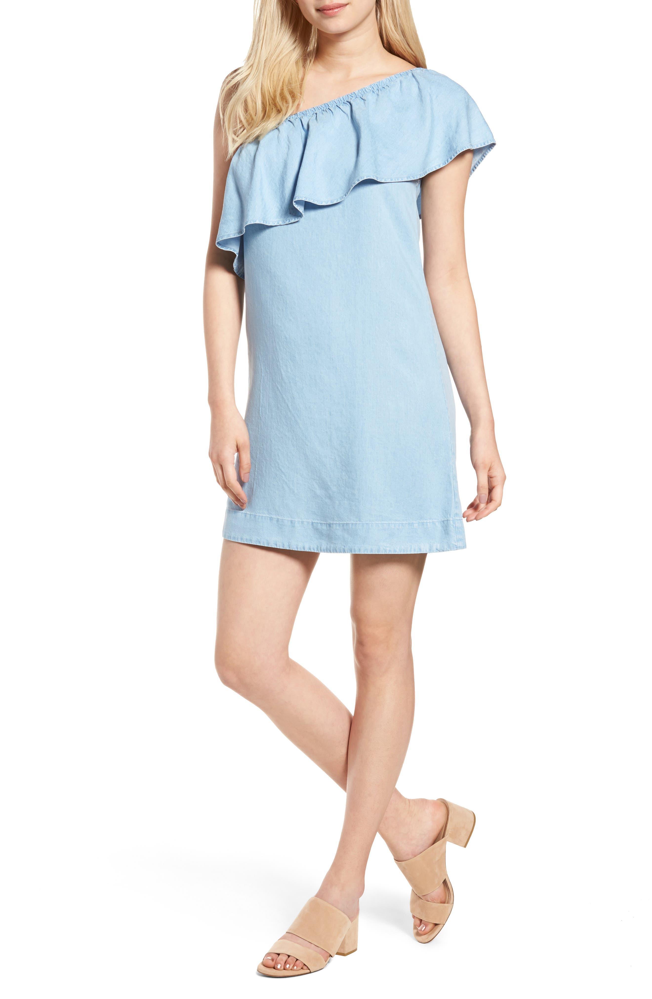 Chambray One-Shoulder Dress,                         Main,                         color, Rio Vista Blue