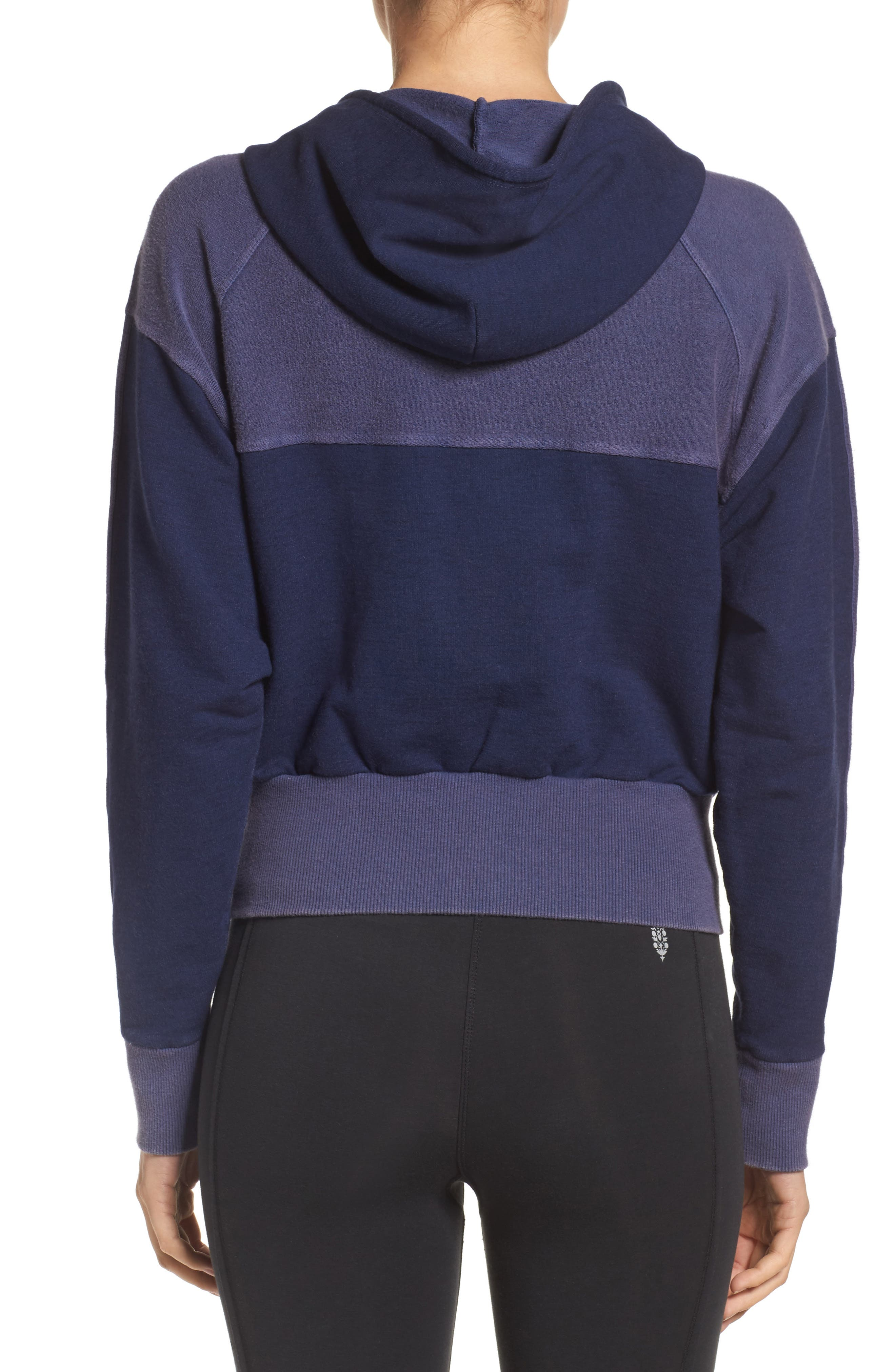 Free People Shadowboxer Hoodie,                             Alternate thumbnail 3, color,                             Blue