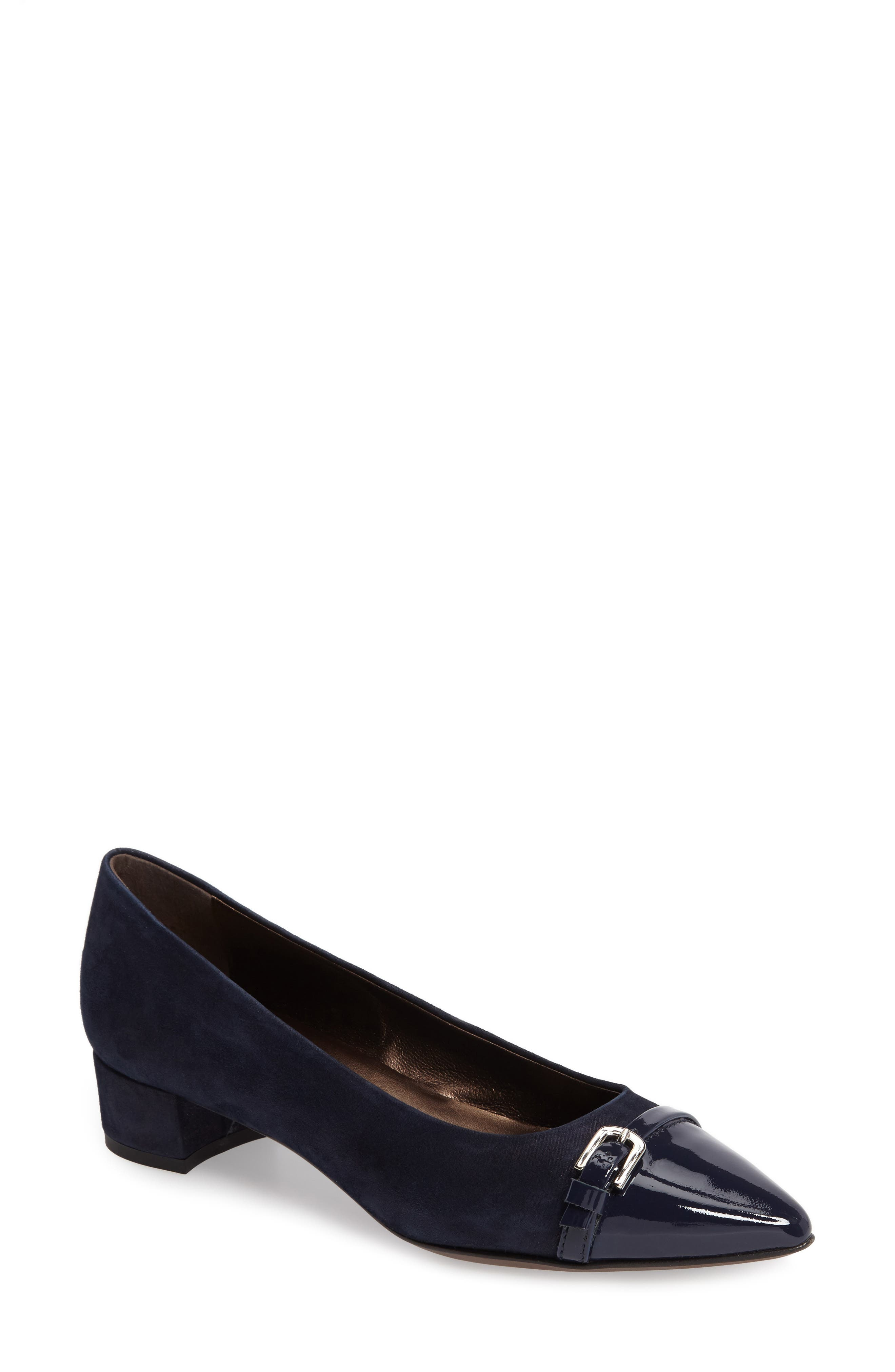 Belted Block Heel Pump,                             Main thumbnail 1, color,                             Night Shimmer Leather