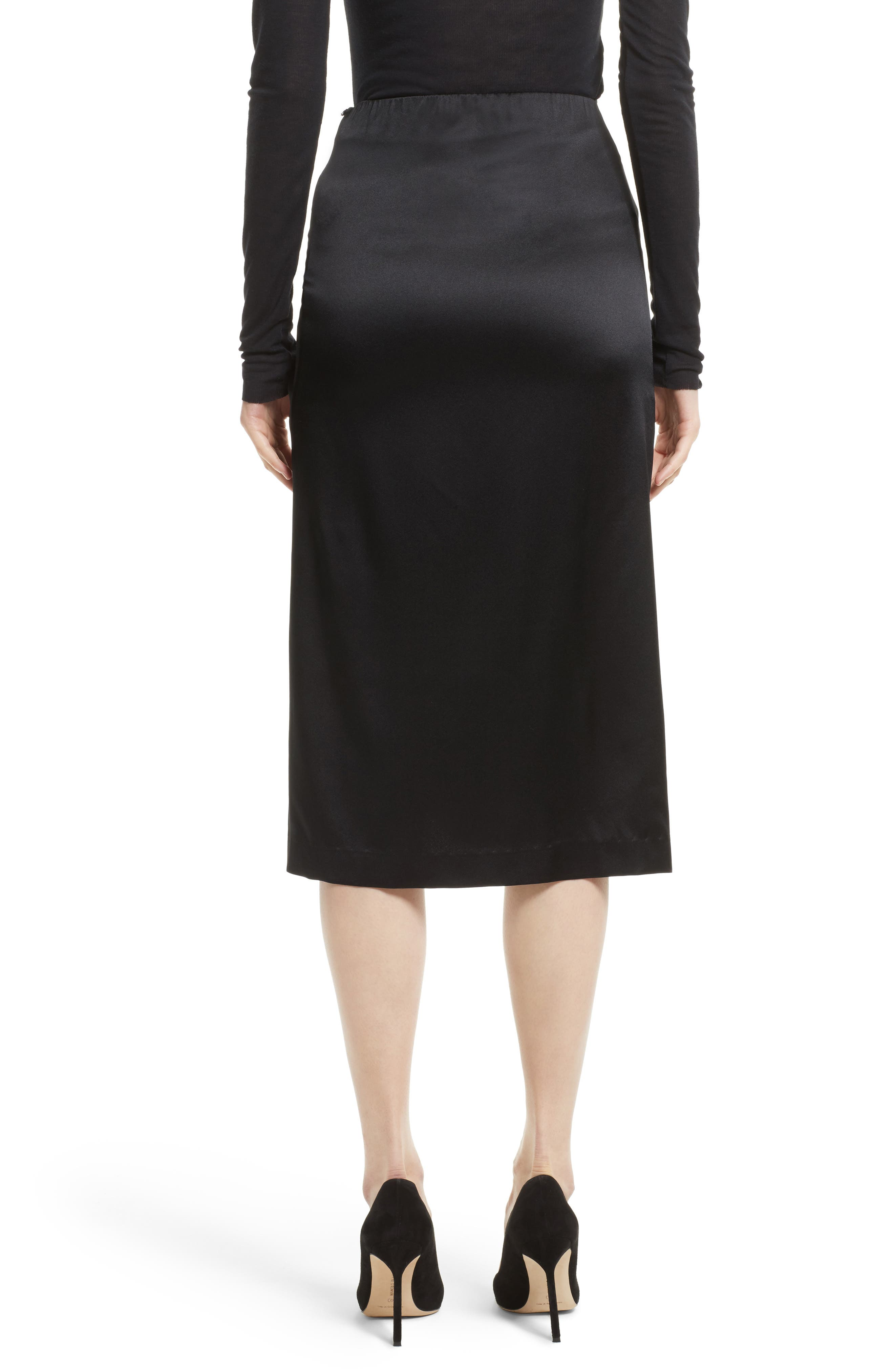Ruched Stretch Satin Skirt,                             Alternate thumbnail 2, color,                             Black