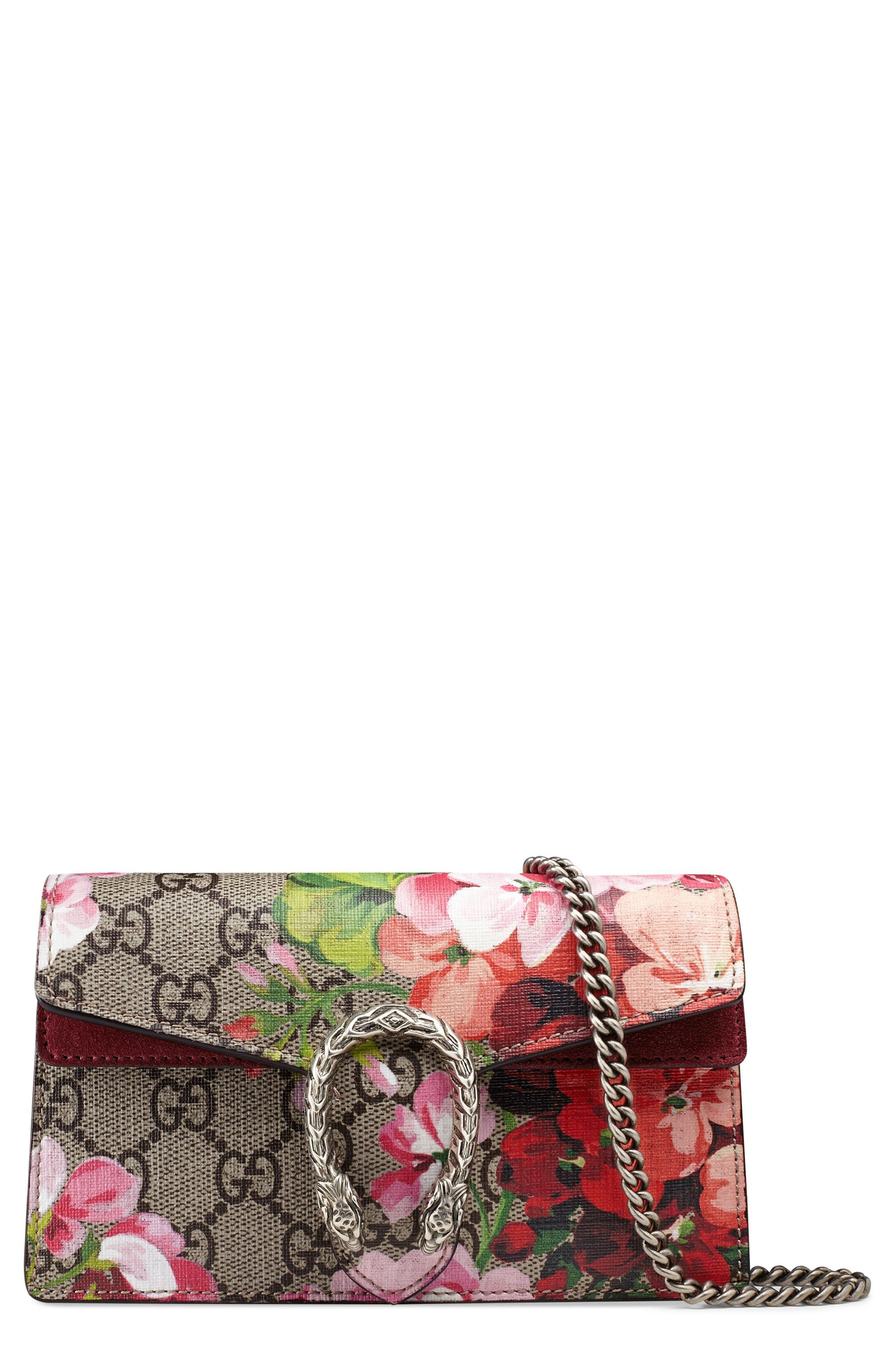 Alternate Image 1 Selected - Gucci Super Mini Dionysus GG Blooms Canvas Shoulder Bag