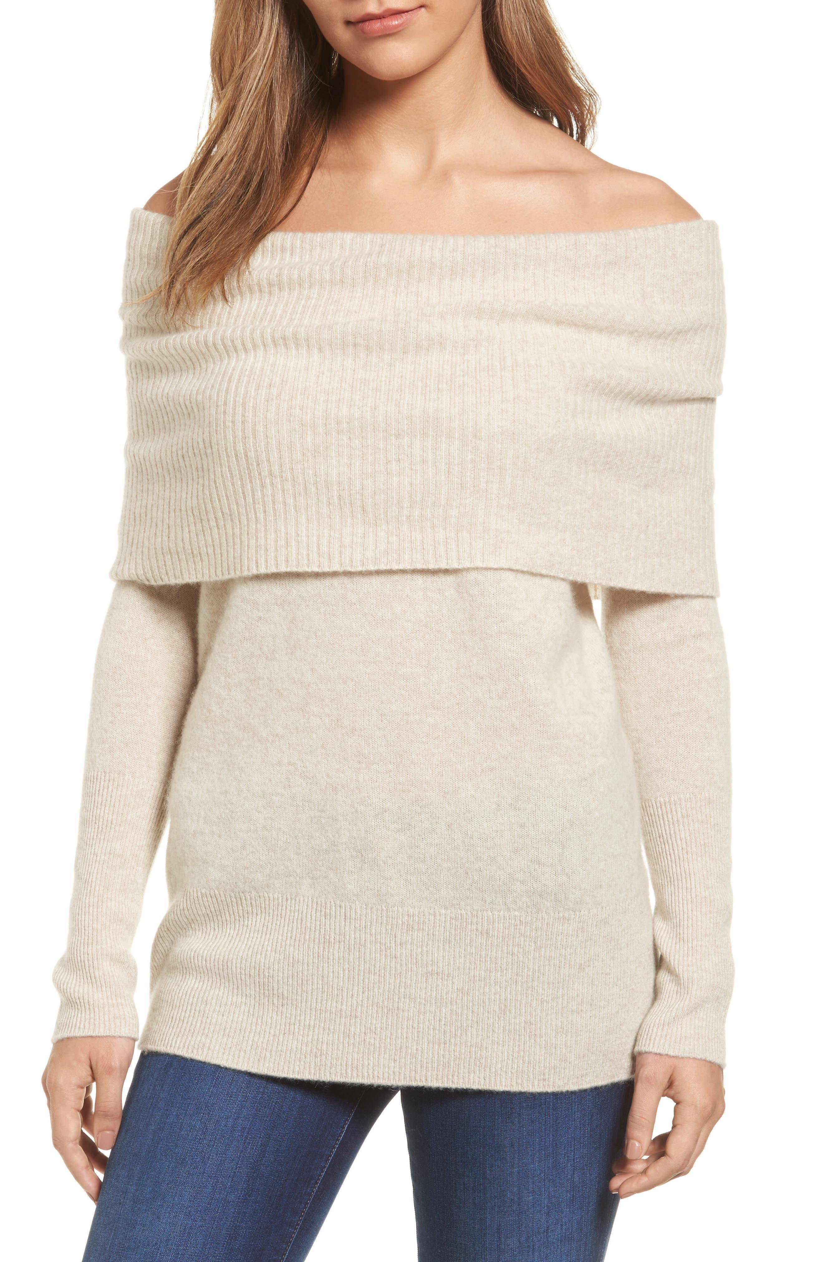 Halogen® Cashmere Off the Shoulder Sweater (Regular & Petite)