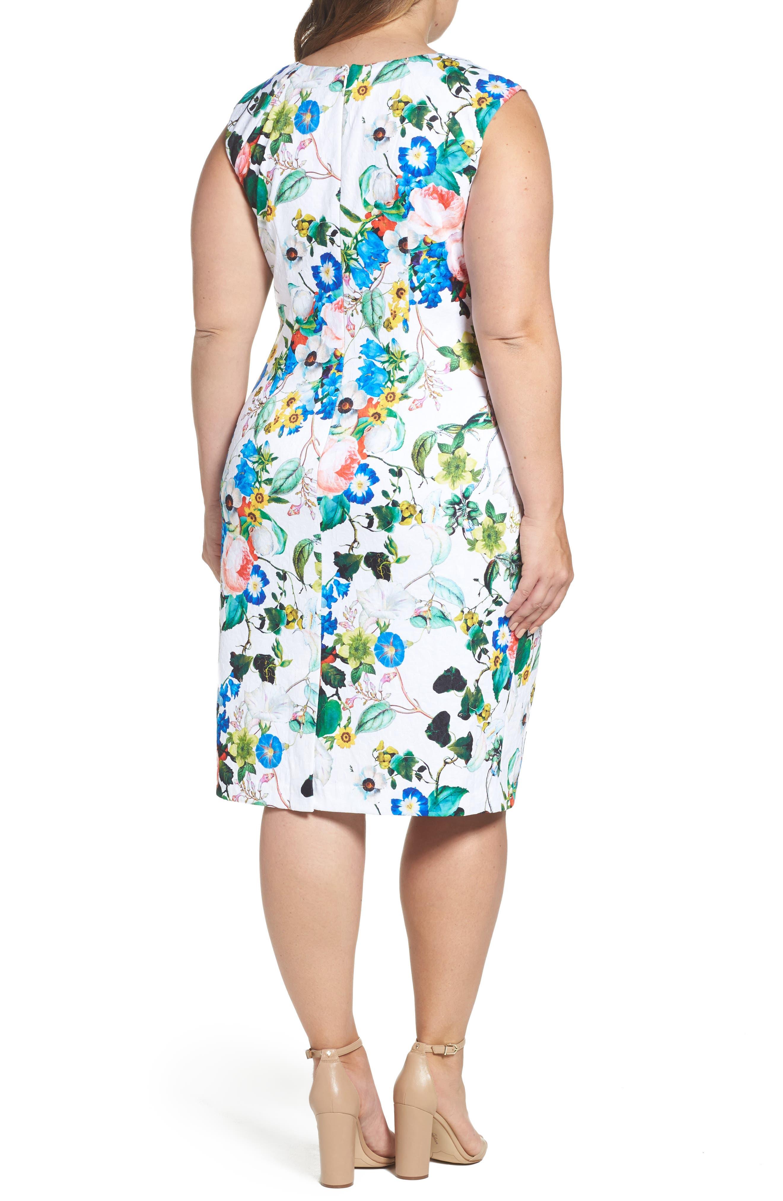 Side Pleat Floral Sheath Dress,                             Alternate thumbnail 2, color,                             Ivory Multi